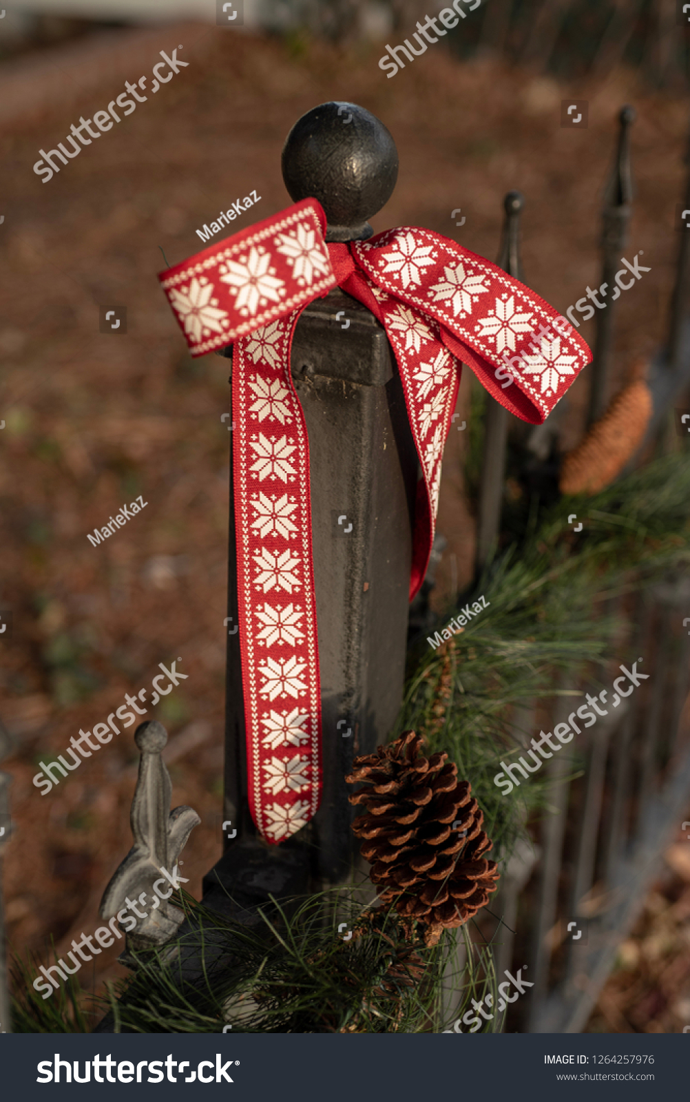Outdoor Christmas Ribbon.Red Ribbon Outdoor Christmas Decorations On Stock Photo