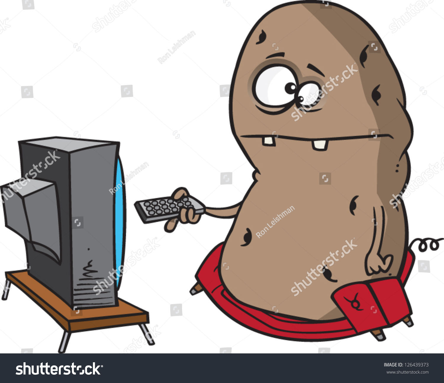 Vector Illustration Couch Potato Sitting On Stock Vector