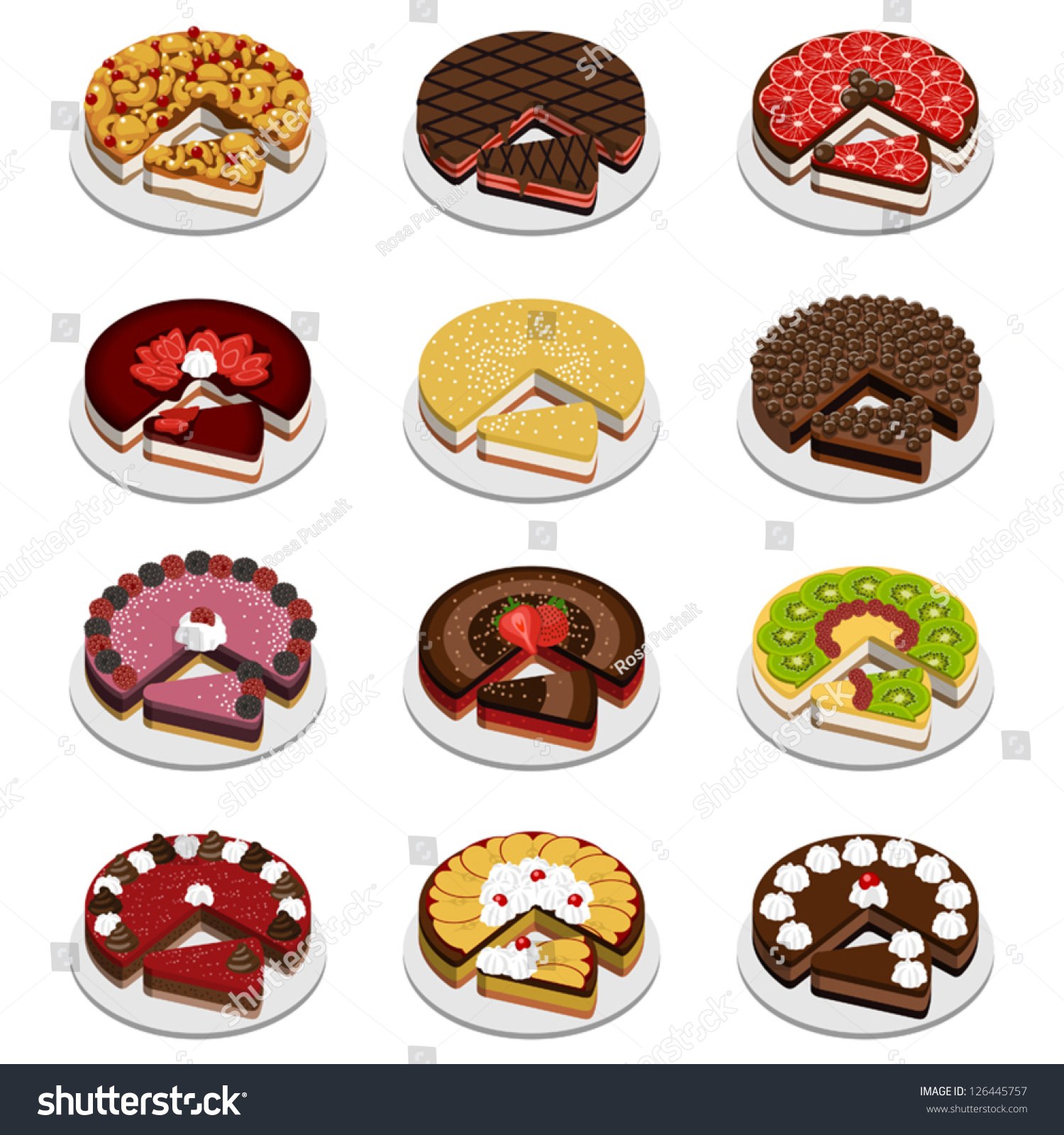 different cake flavors cakes pies different flavors stock vector 126445757 3537