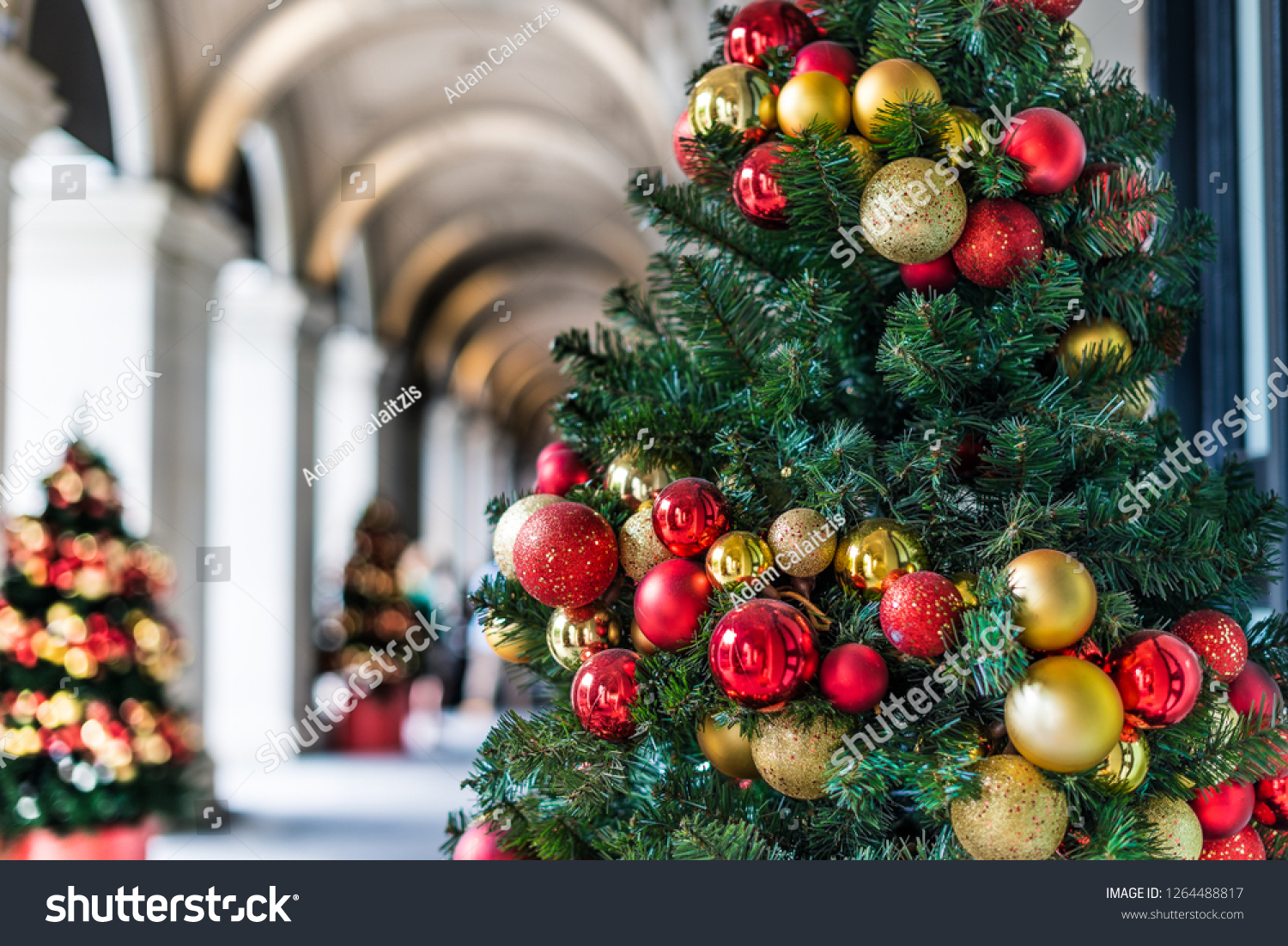 Christmas Tree Decorations Under Arched Hallway Backgrounds Textures Stock Image 1264488817