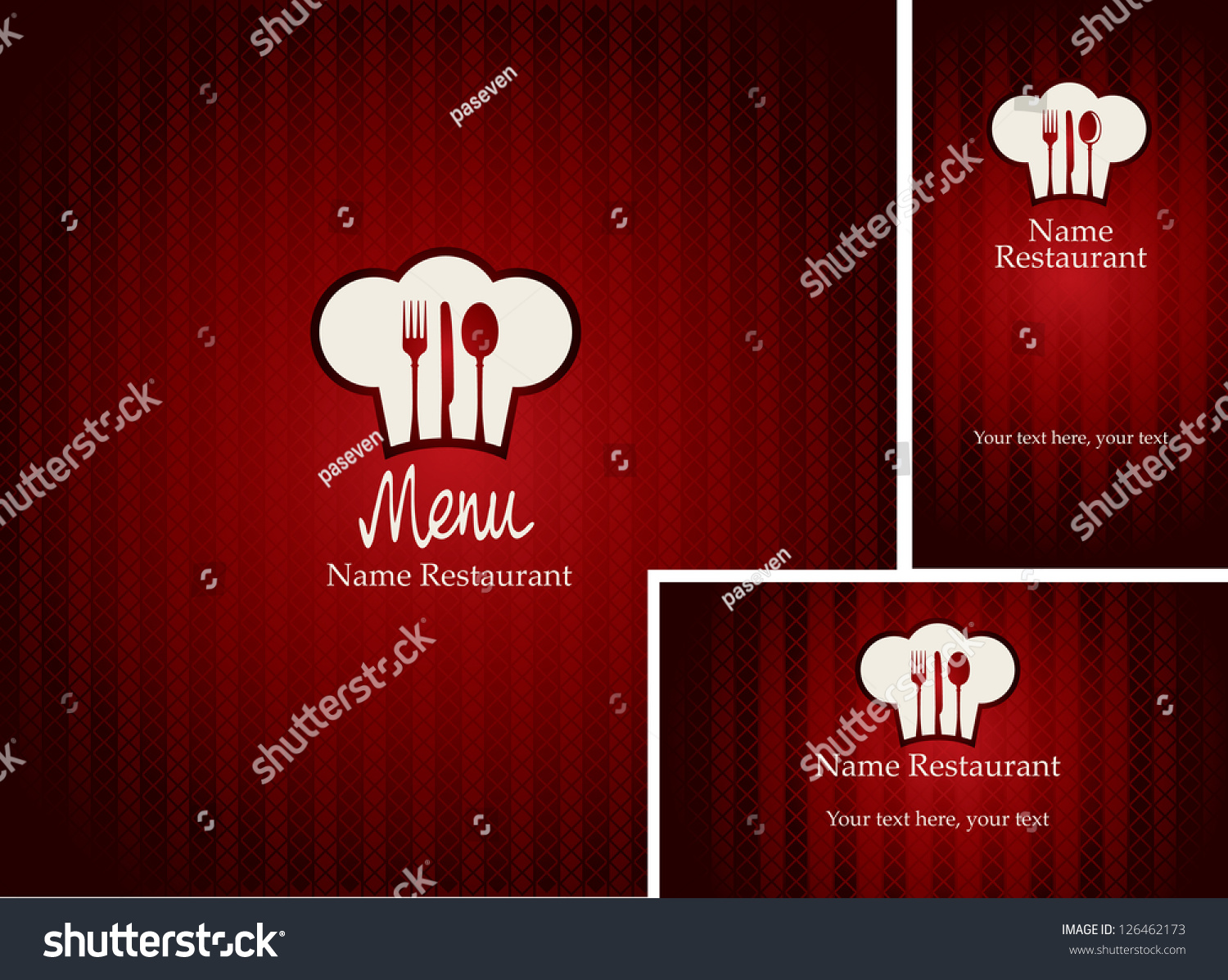 menus and business cards for restaurant with red
