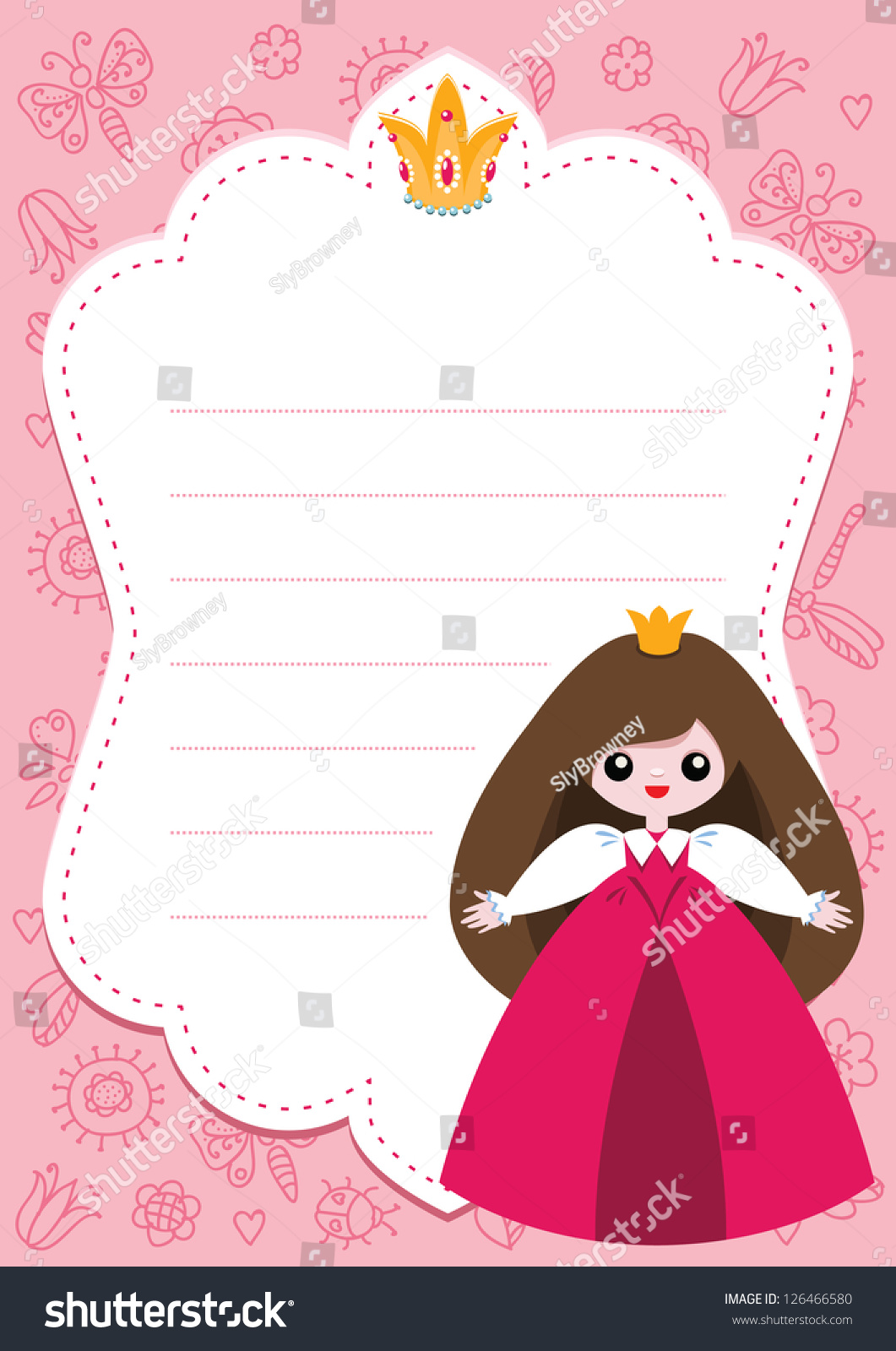 little princess card template blank space stock vector  little princess card template blank space for text
