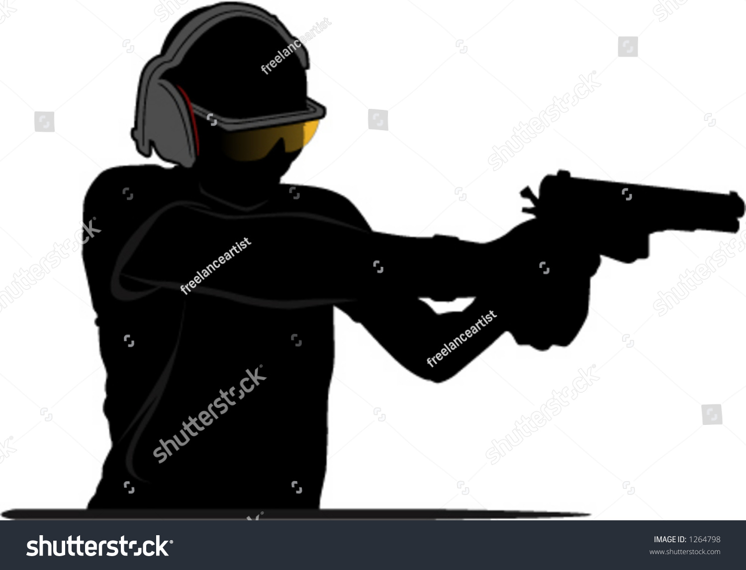 silhouette man shooting gun stock vector royalty free 1264798 https www shutterstock com image vector silhouette man shooting gun 1264798