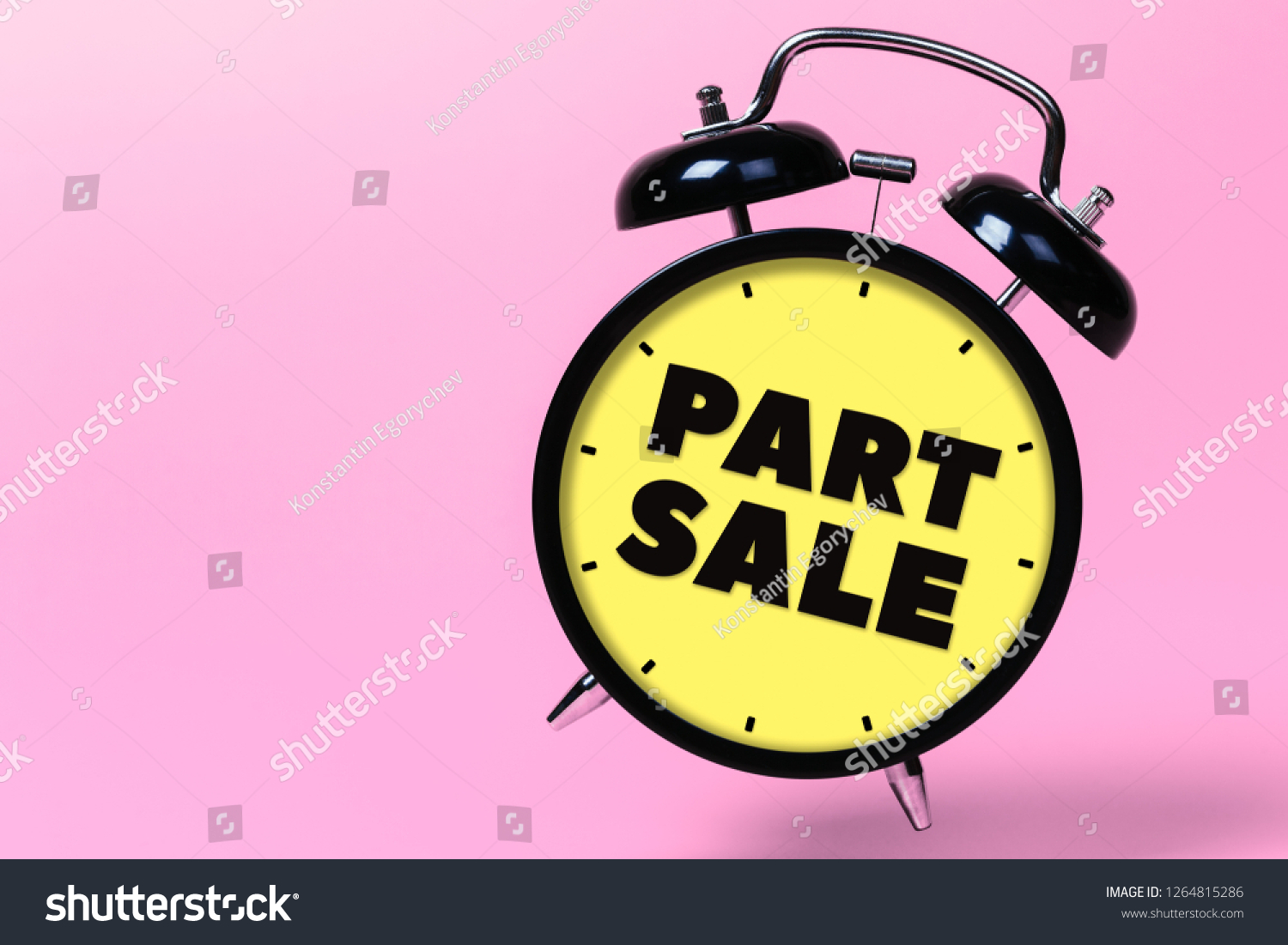 Part Sale Black Alarm Clock Yellow Stock Photo (Edit Now) 1264815286
