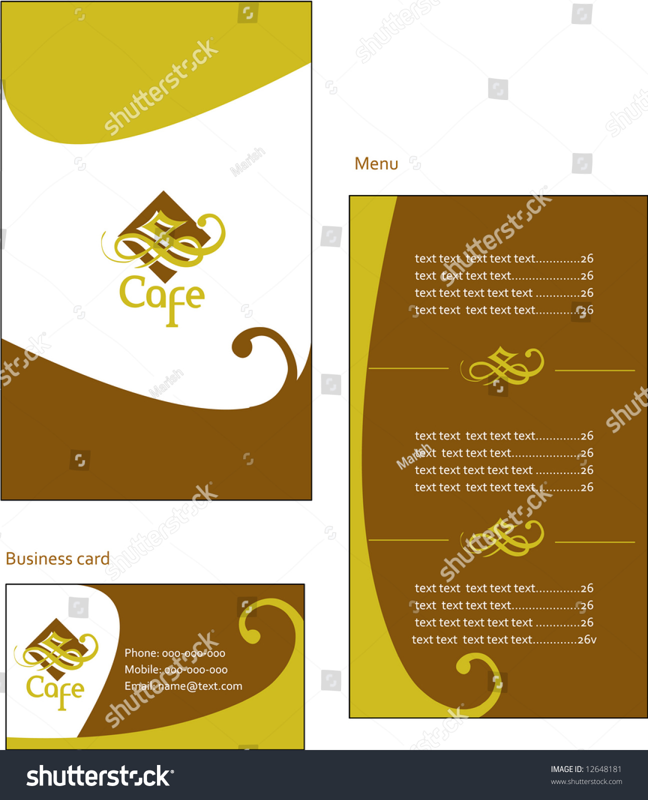 Template Designs European Menu Business Card Stock Vector ...