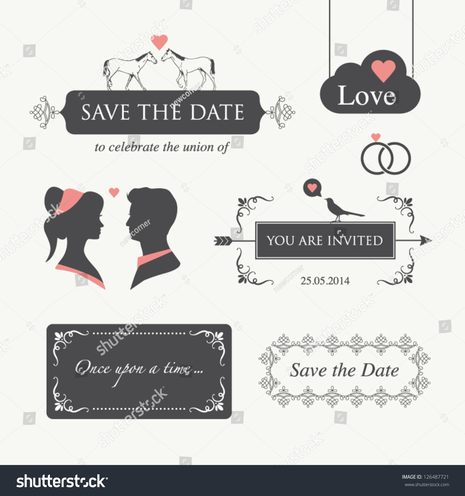 Wedding ornaments 2014 - Set Of Wedding Design Illustration Elements And Ornaments Editable Wedding Invitation Card Valentines