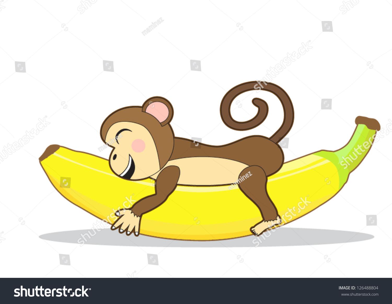 Cute Monkey Holding Banana Stock Vector 126488804