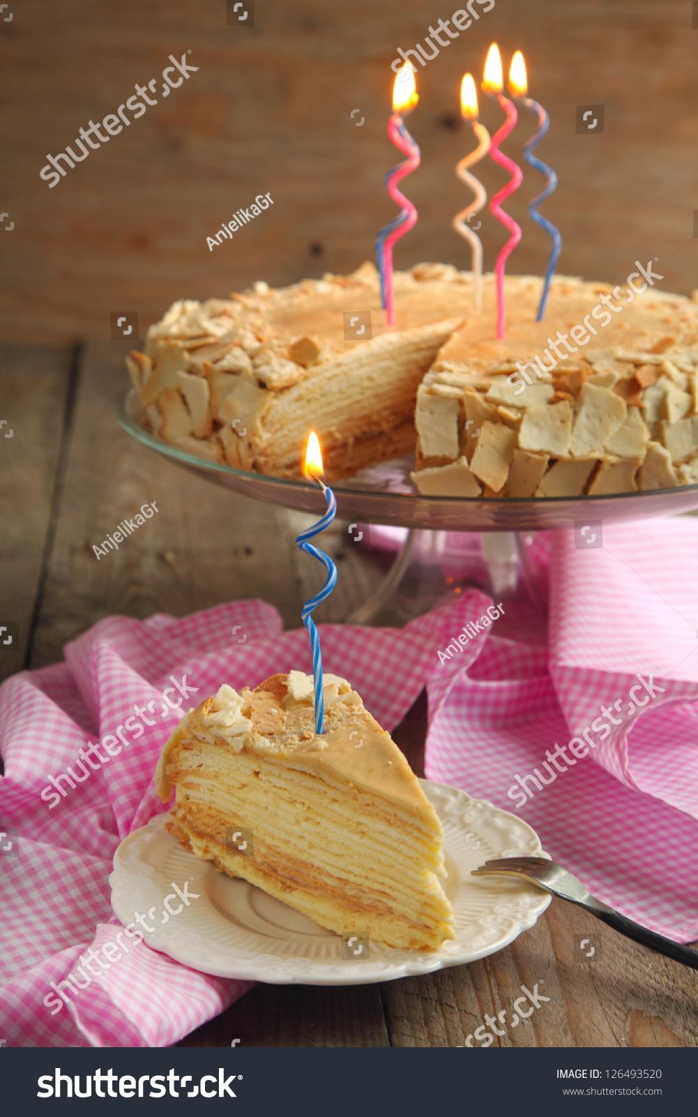 Cake Napoleon Puff Pastry Cream Birthday Stock Photo Edit Now