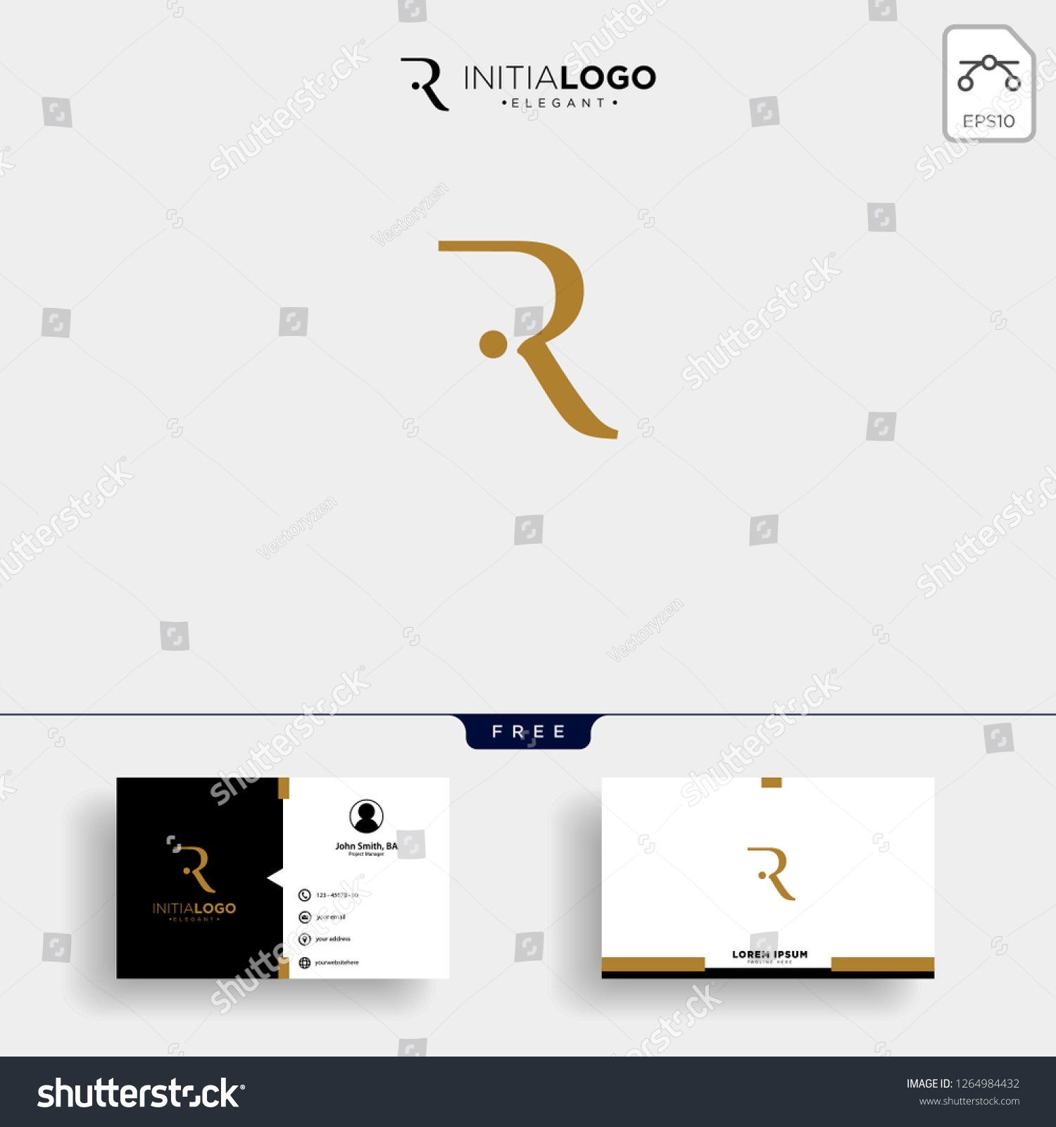 bbd3f301f initial r luxury logo template vector illustration and business card design