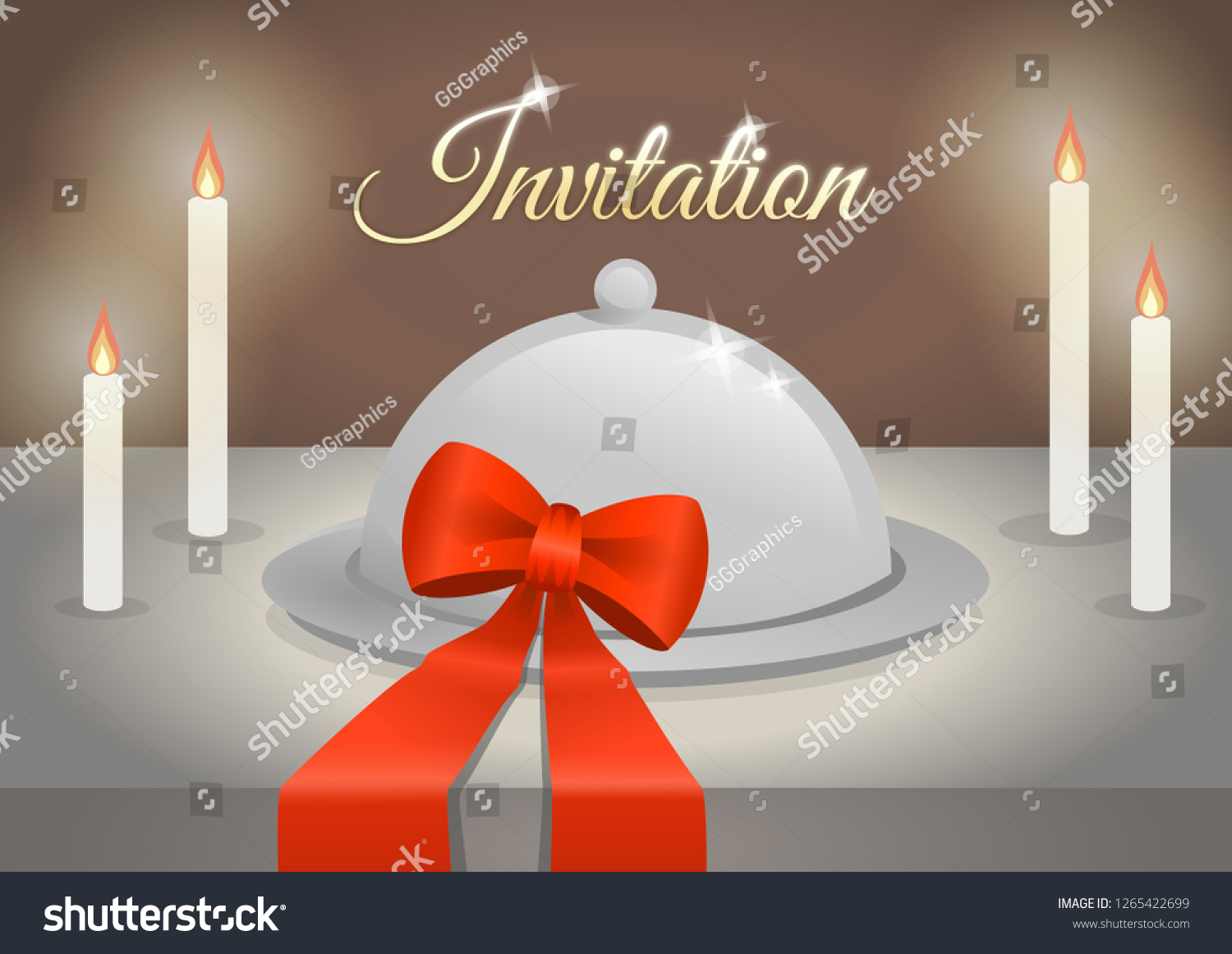 Invitation Romantic Candle Light Dinner Two Stock