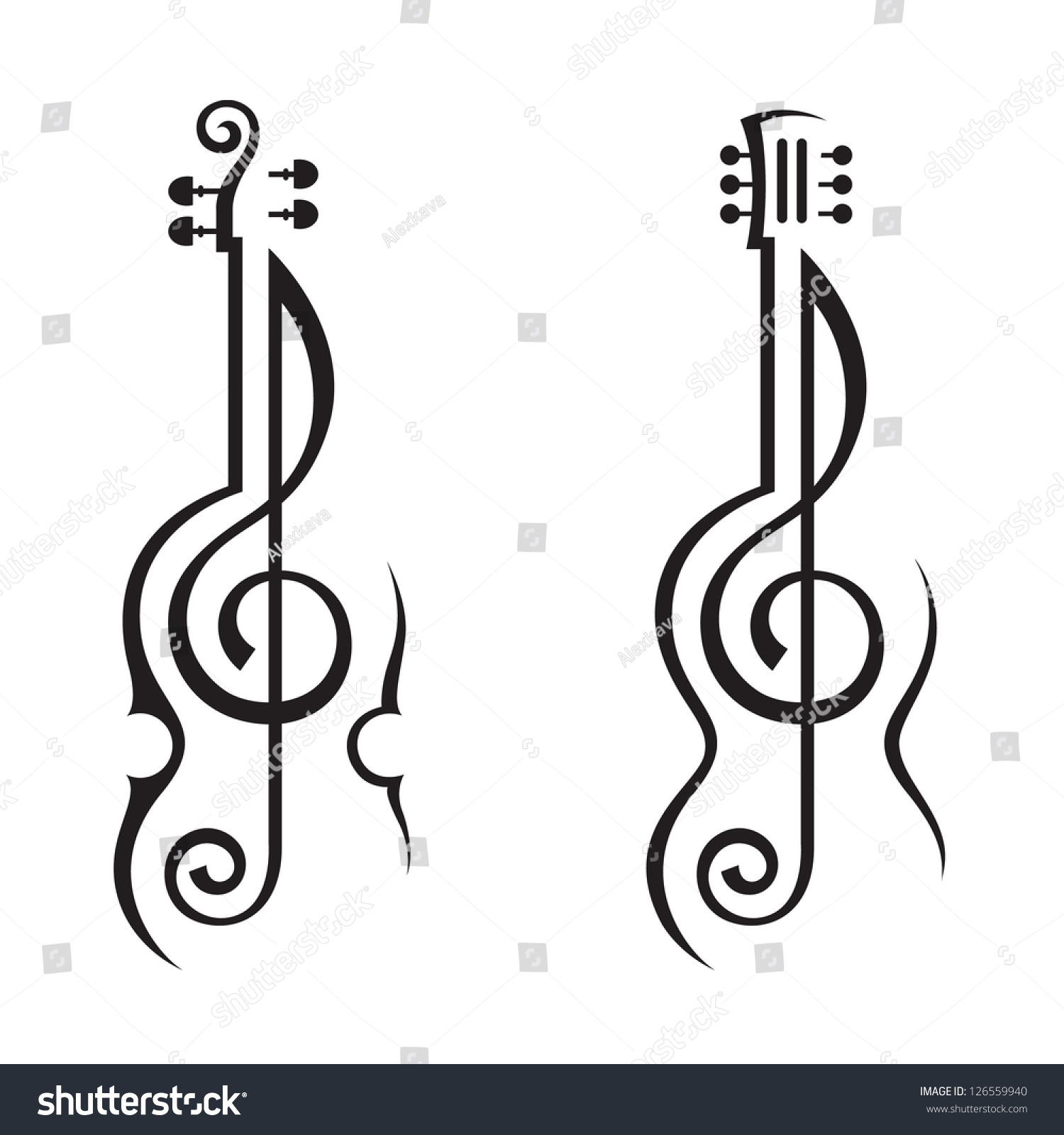 Violin Guitar Treble Clef Stock Vector 126559940 - Shutterstock