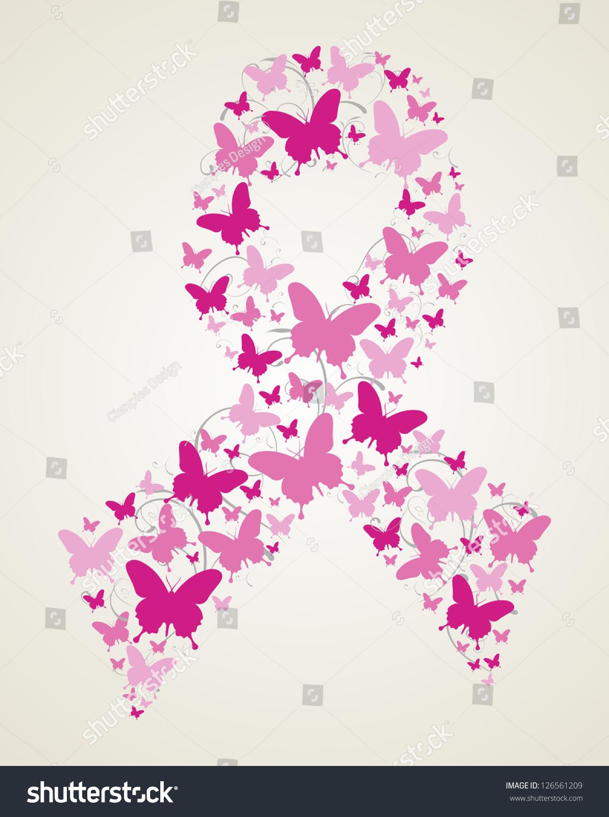 Pink Butterflies Breast Cancer Awareness Ribbon Stock Vector