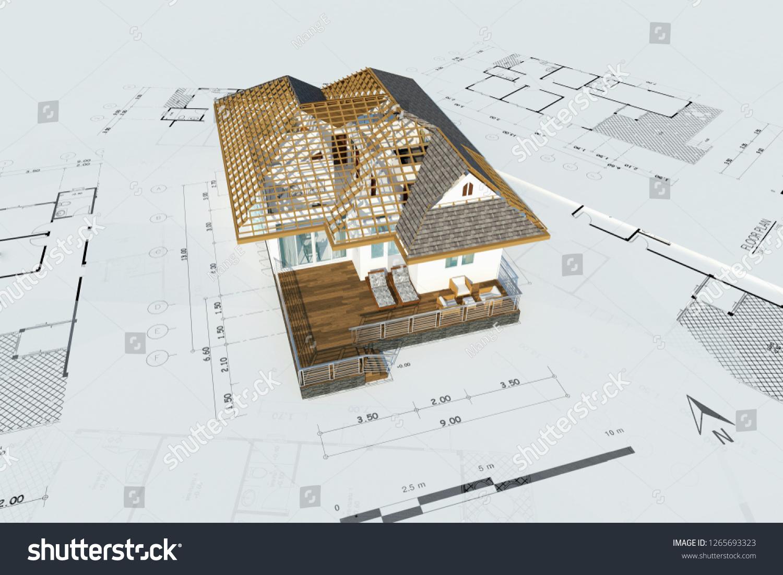 Floor Plan House Top View 3d Stock Illustration 1265693323