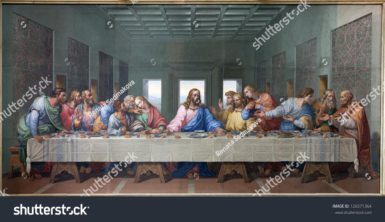 vienna january 15 mosaic last supper stock photo 126571364