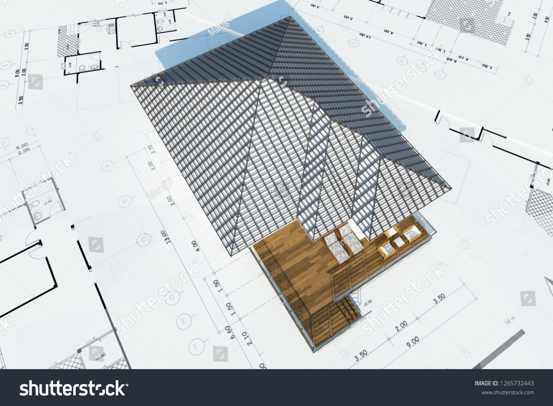 Floor Plan House Top View 3d Stock Illustration 1265732443