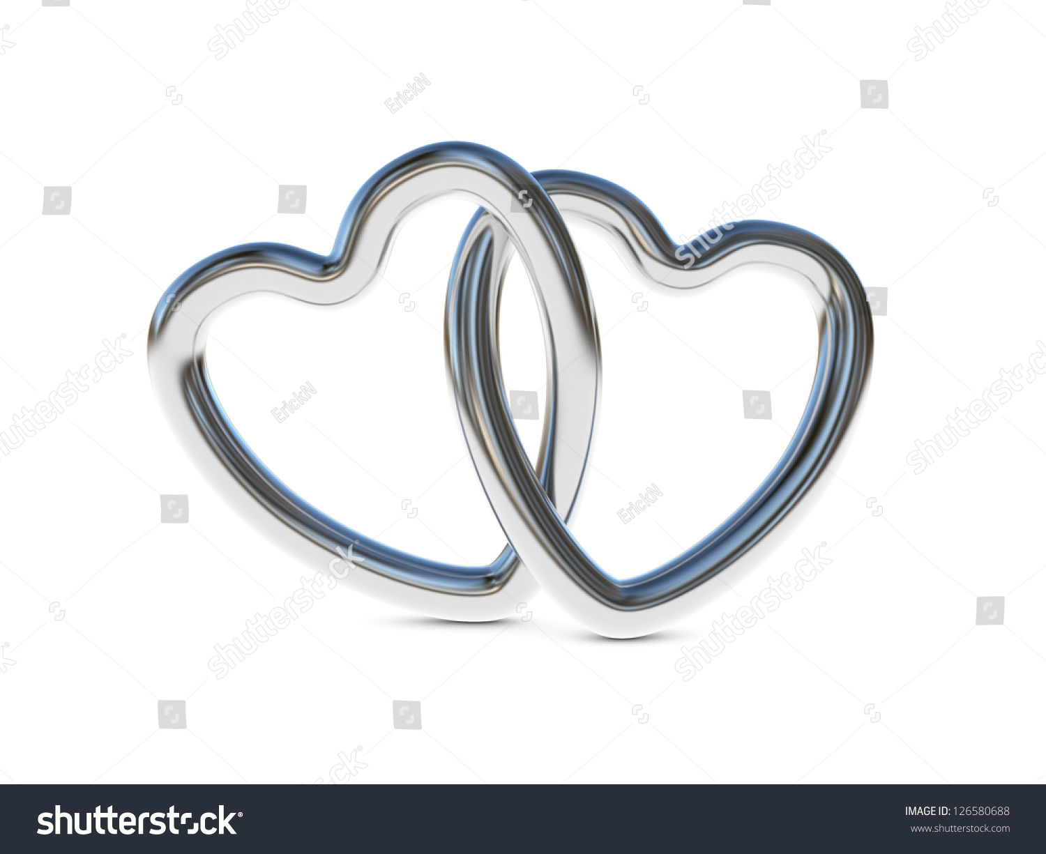 Two Intertwined Silver Heart Rings 3d Stock Illustration ...