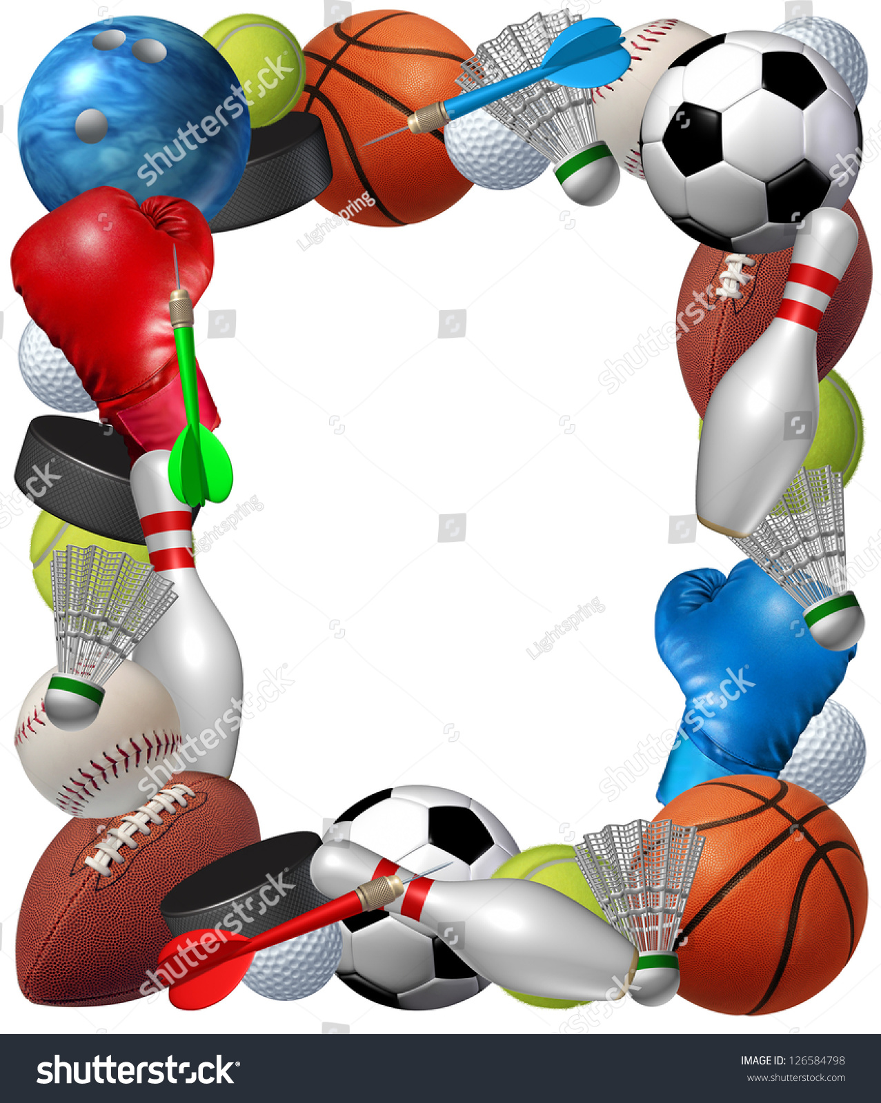 Sports Frame Sport Equipment Basketball Boxing Stock Illustration Football Golf Soccer Tennis With From Bowling Badminton Darts Ice