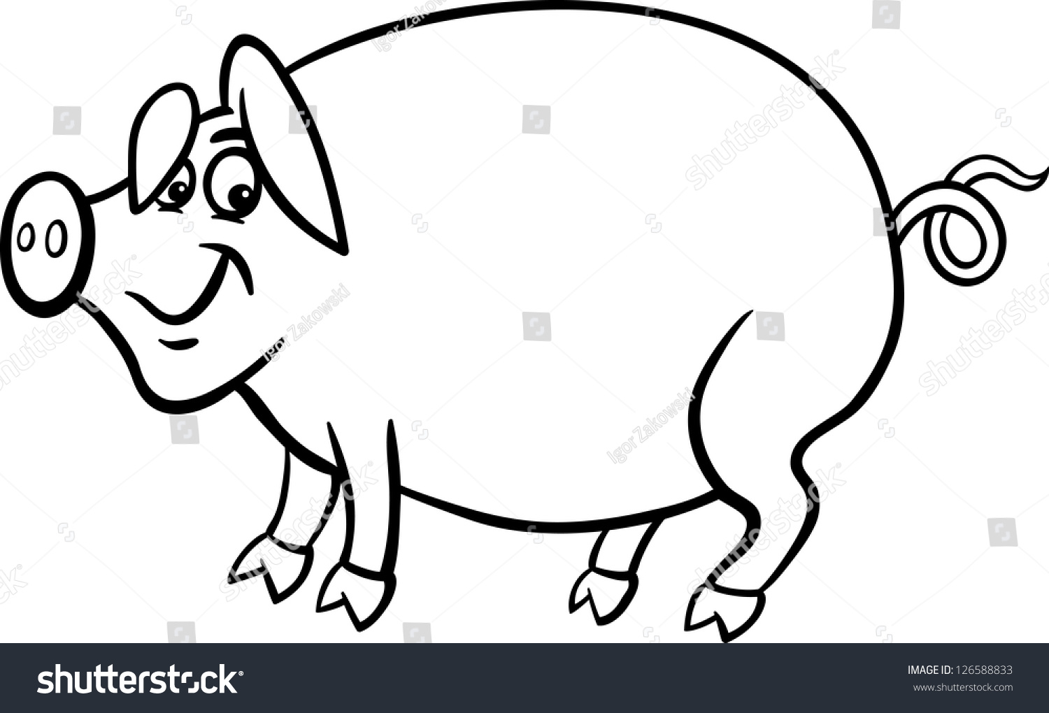 black white cartoon illustration funny pig stock