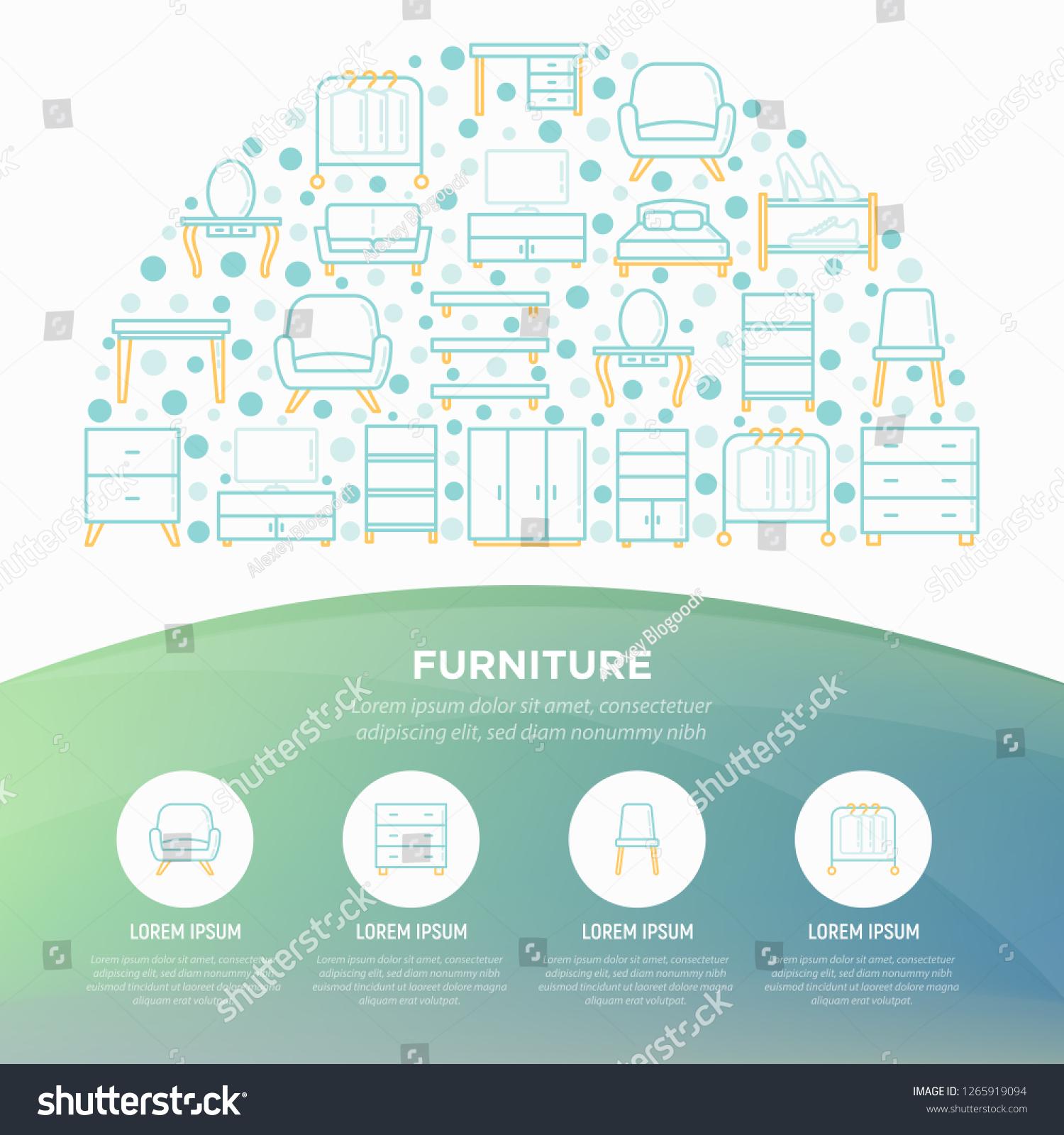 Furniture Concept Half Circle Thin Line Stock Vector
