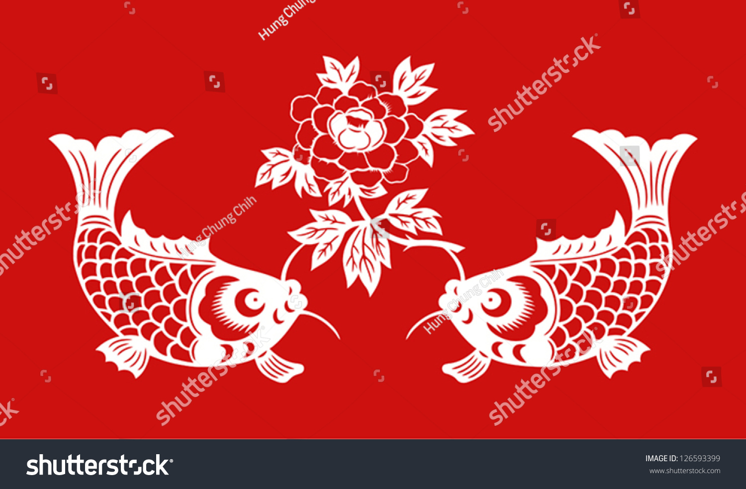 Auspicious Double Fish Symbol Chinese New Stock Photo Photo Vector