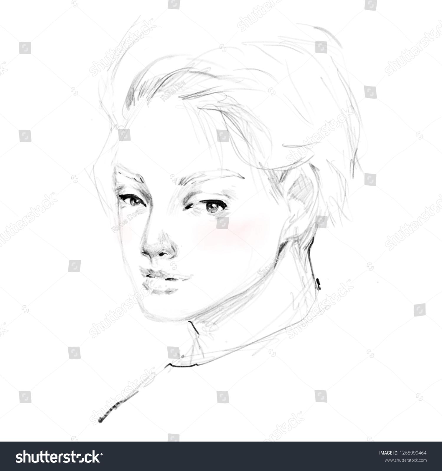 Attractive man black white pencil drawing stock illustration