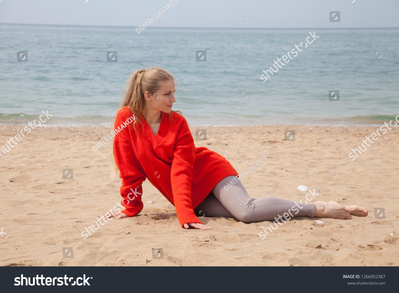 68b1c036fb6 Beautiful Blonde Woman Red Walks On Stock Photo (Edit Now ...