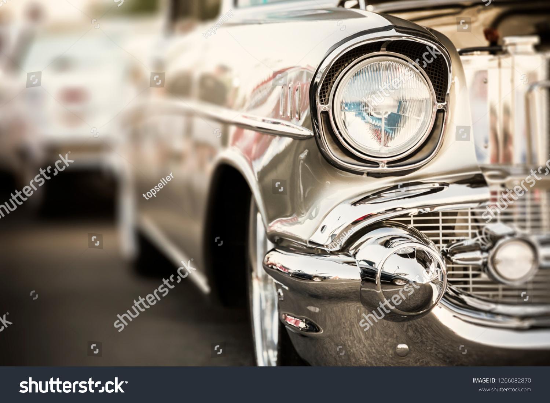Classic car headlights close-up #1266082870