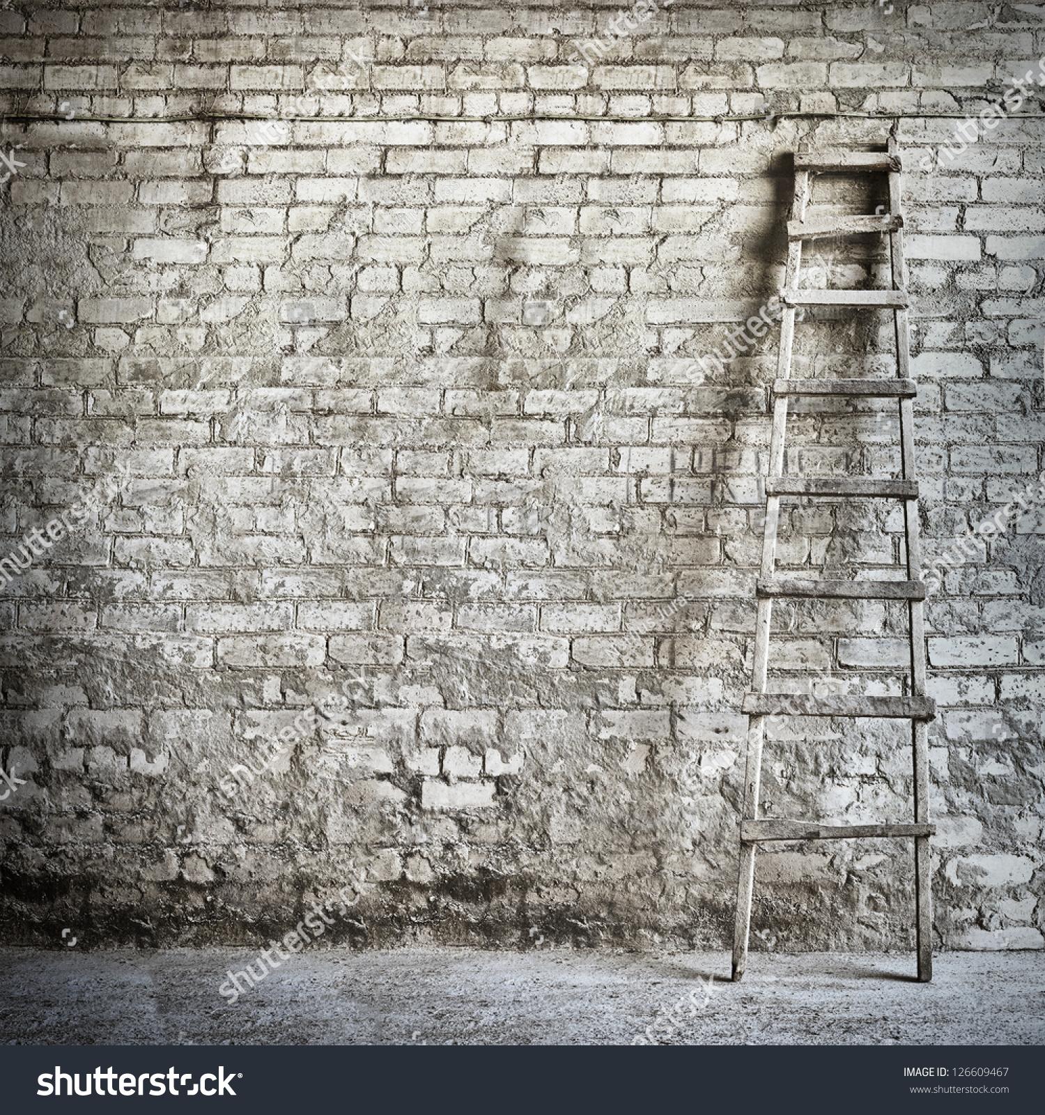 Brick Wall Background Ladder Near Wall Stock Photo