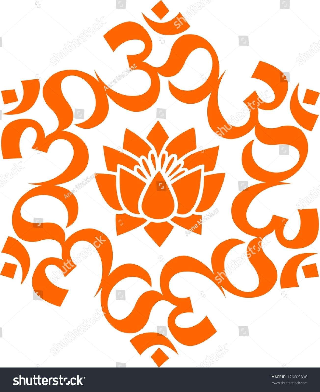 Vector Image Om Aum Lotus Flower Stock Vector 126609896