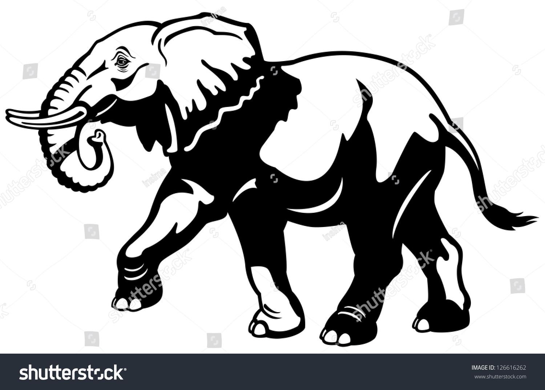 Elephantblack white pictureside view illustration stock vector 126616262 shutterstock - Black and wait ...