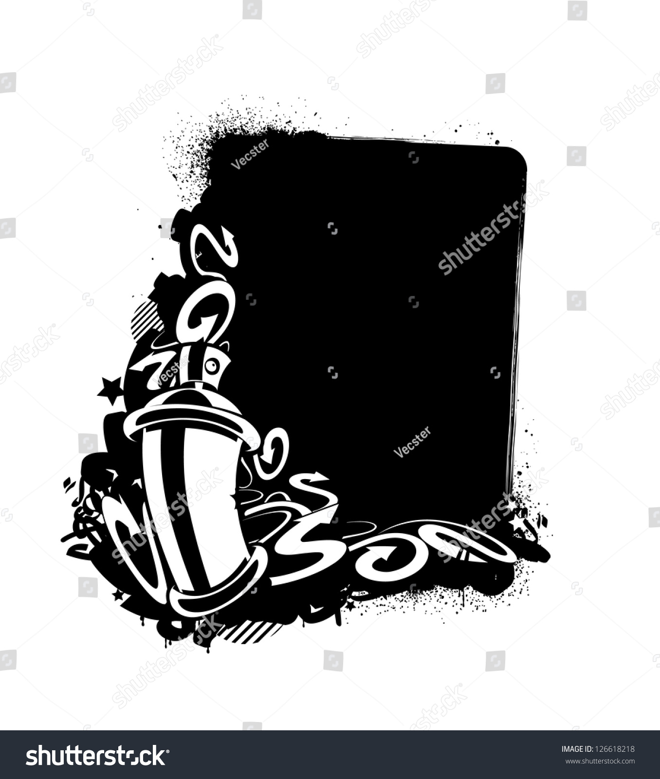 Graffiti image of can with arrows vertical banner monochrome sketch vector illustration