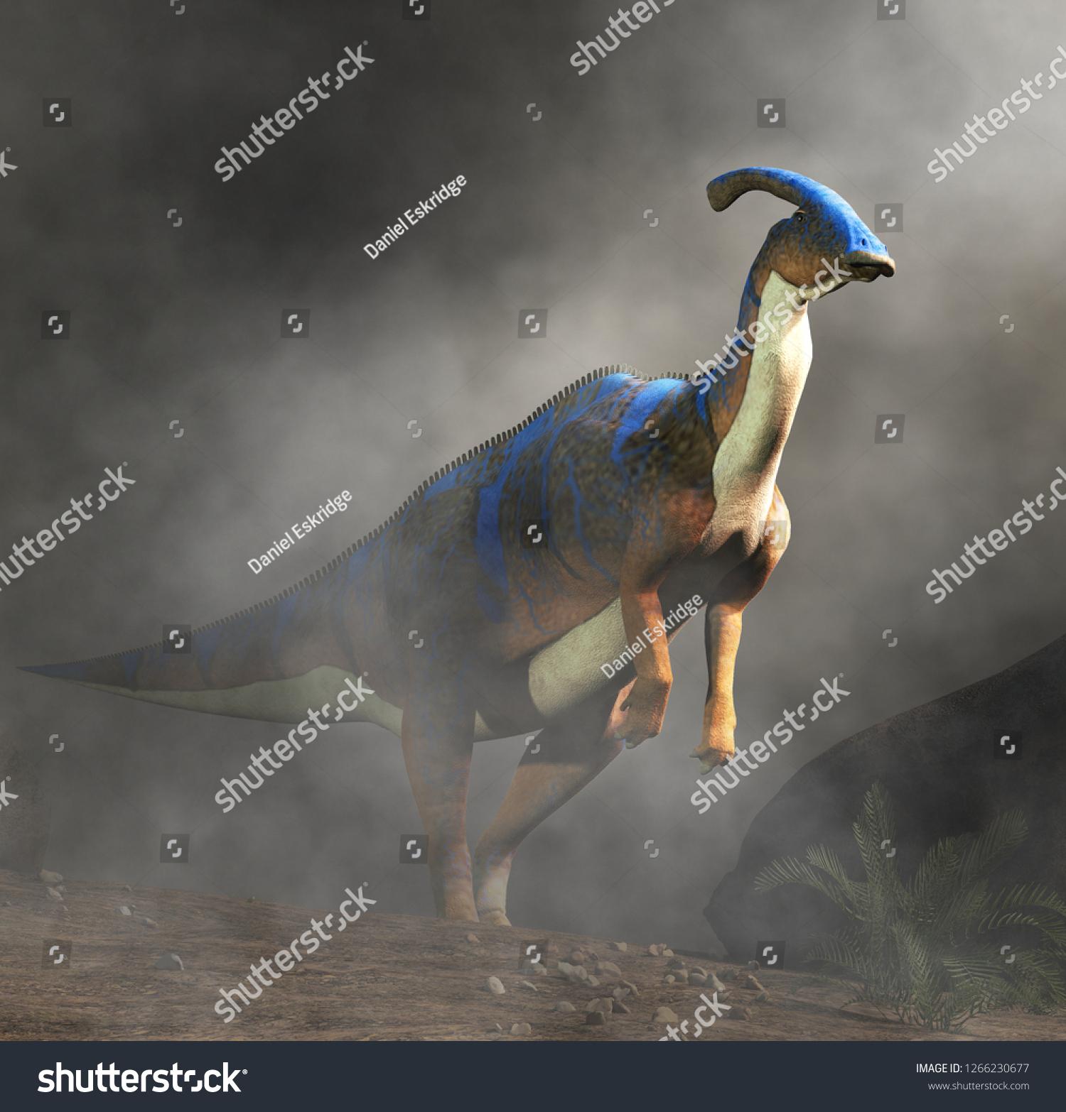 Parasaurolophus Type Herbivorous Ornithopod Dinosaur Hadrosaur Stock