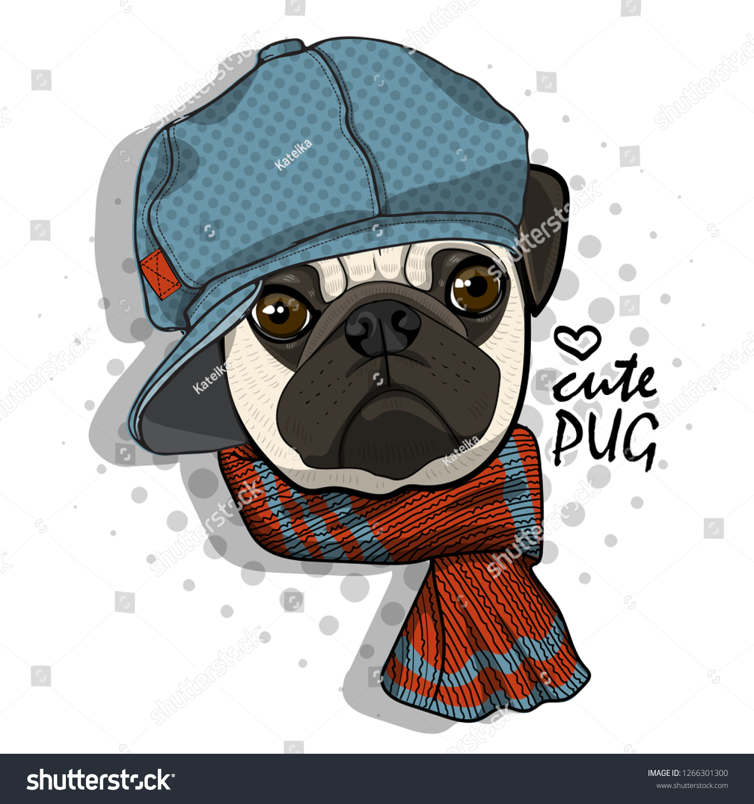 Vector dog with blue knitted hat and scarf. Hand drawn illustration ... 3d965e57ac6