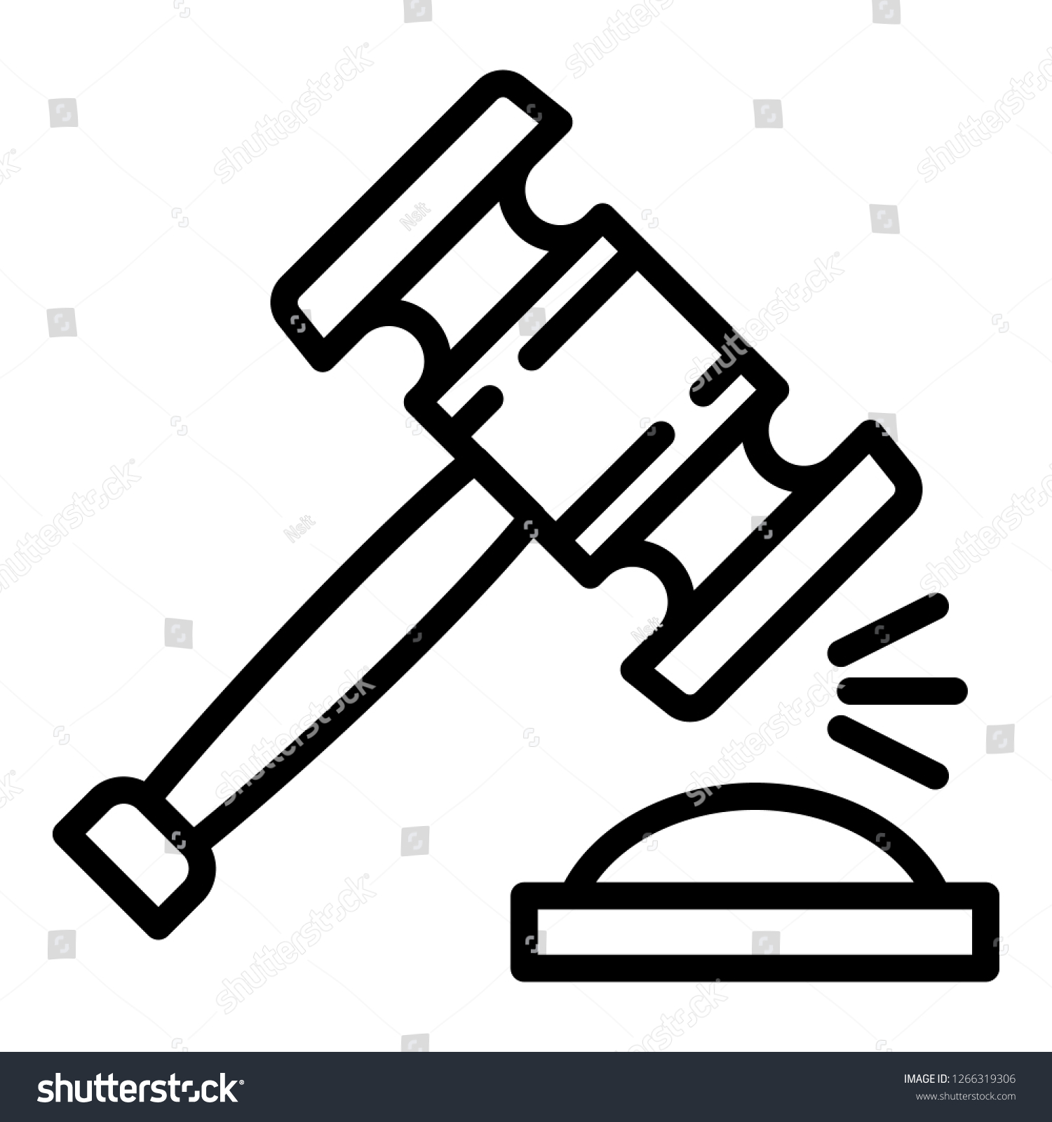 Wood Gavel Icon Outline Wood Gavel Stock Vector Royalty Free