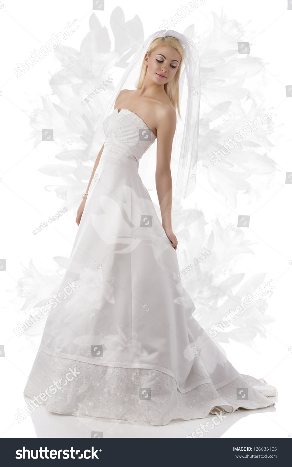 Cute blonde woman with long wedding dress white veil and for Bracelet for wedding dress