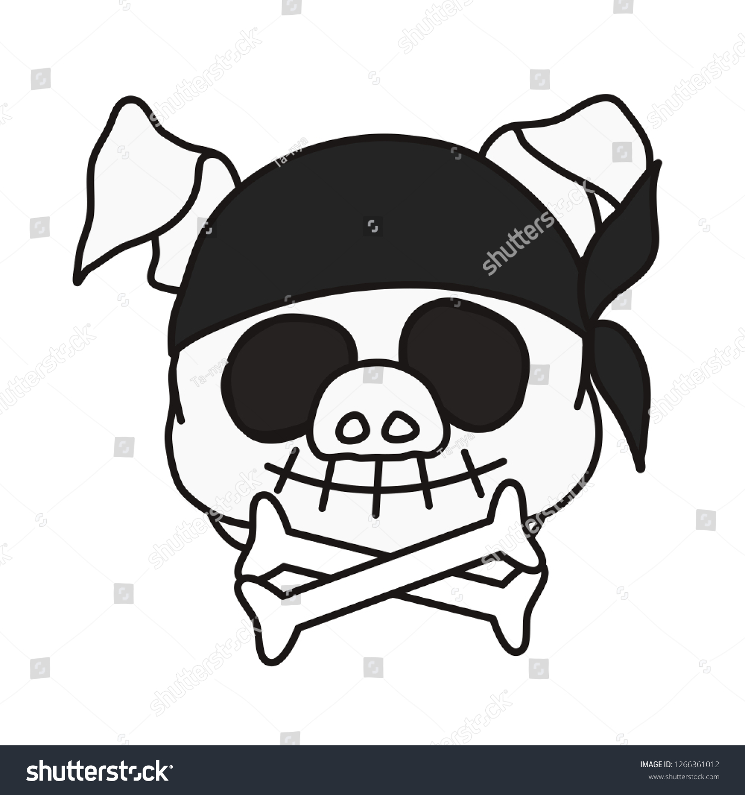 ce7d8e6e4b1 Stock vector emoticon or emoji of pirate death sign smiling jolly roger fat  pig skull with