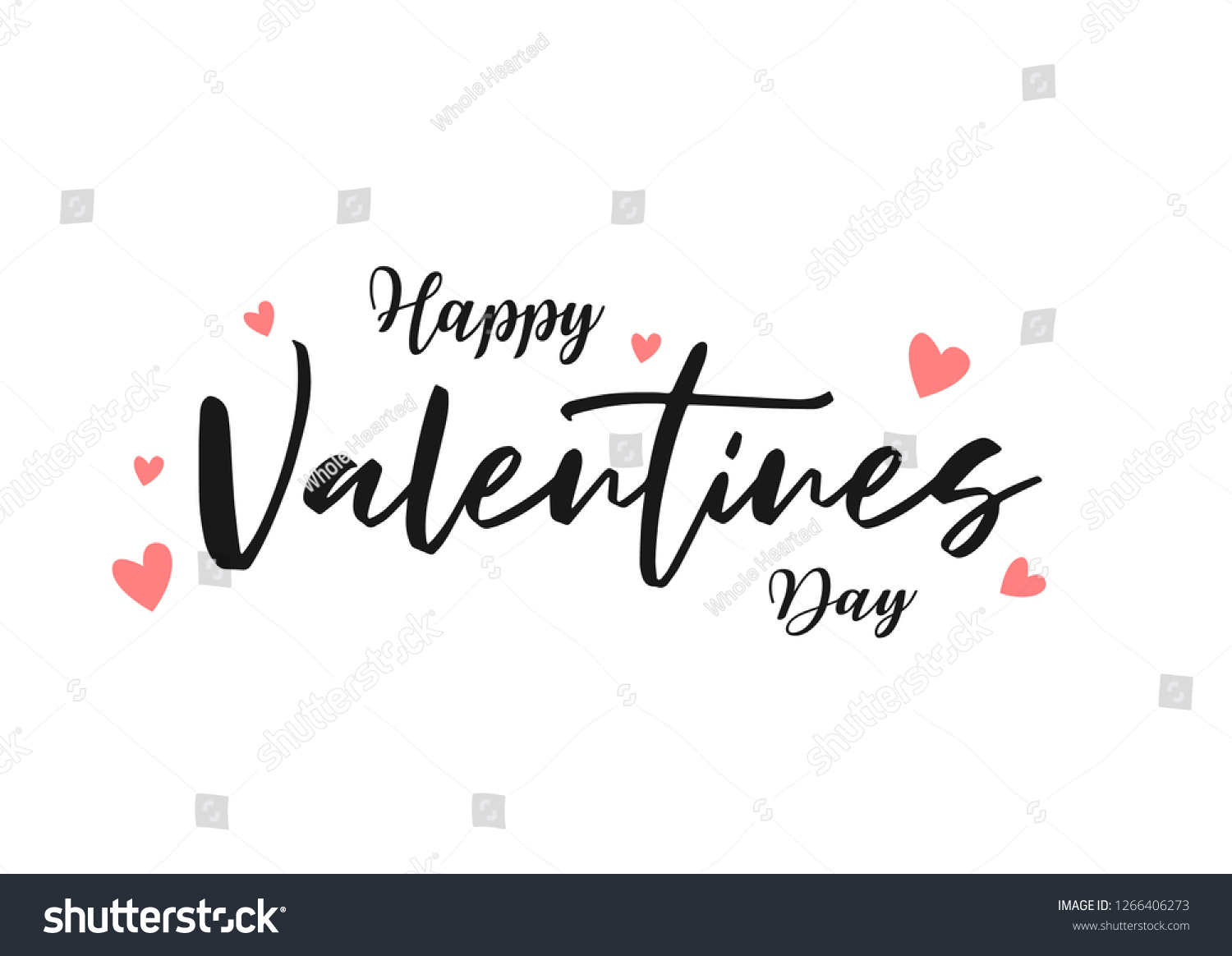 Happy Valentines Day typography poster with handwritten calligraphy text, isolated on white background. Vector Illustration - Vector #1266406273