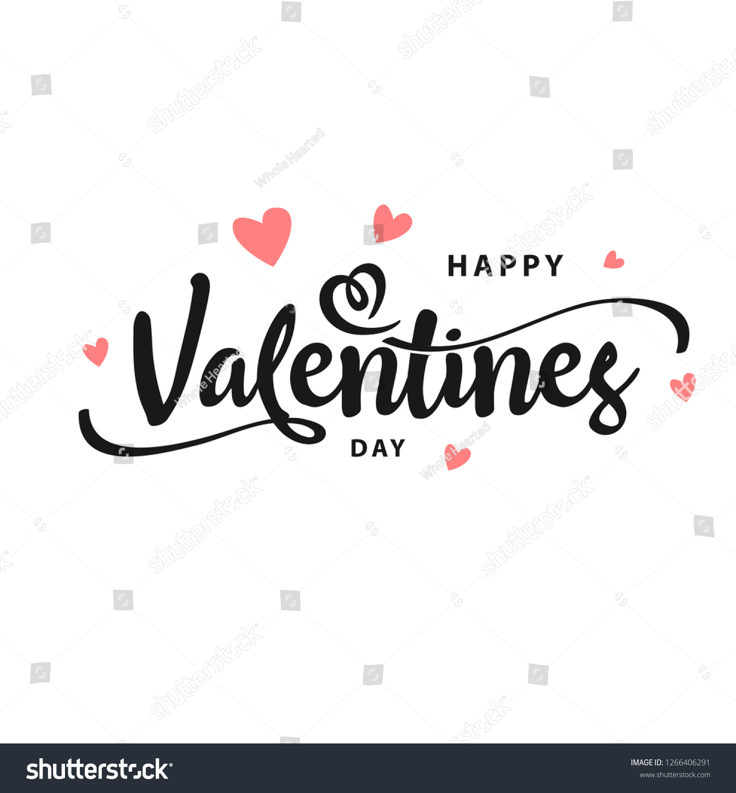 Happy Valentines Day typography poster with handwritten calligraphy text, isolated on white background. Vector Illustration - Vector #1266406291