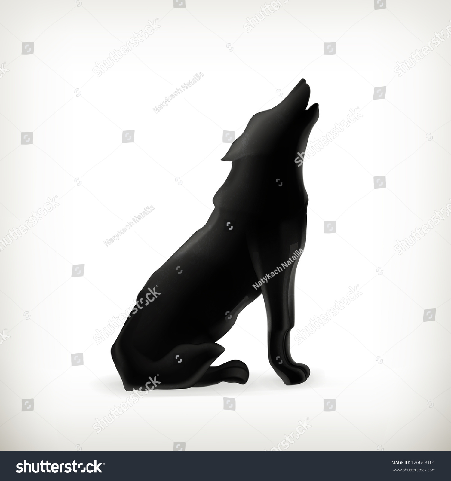 Wolf Silhouette Bitmap Copy Stock Illustration 126663101 ...