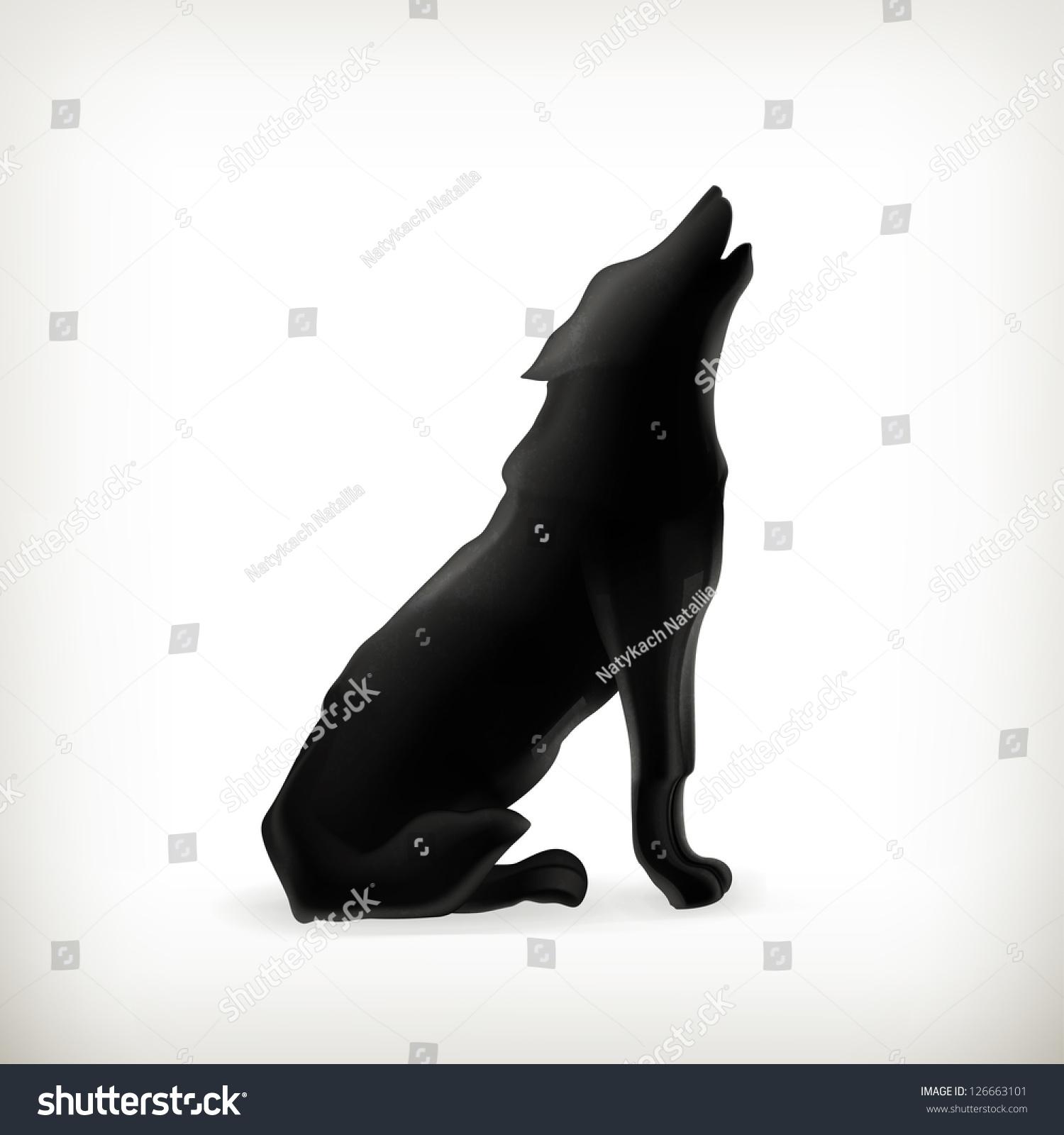 Wolf Silhouette Bitmap Copy Stock Illustration 126663101 ...