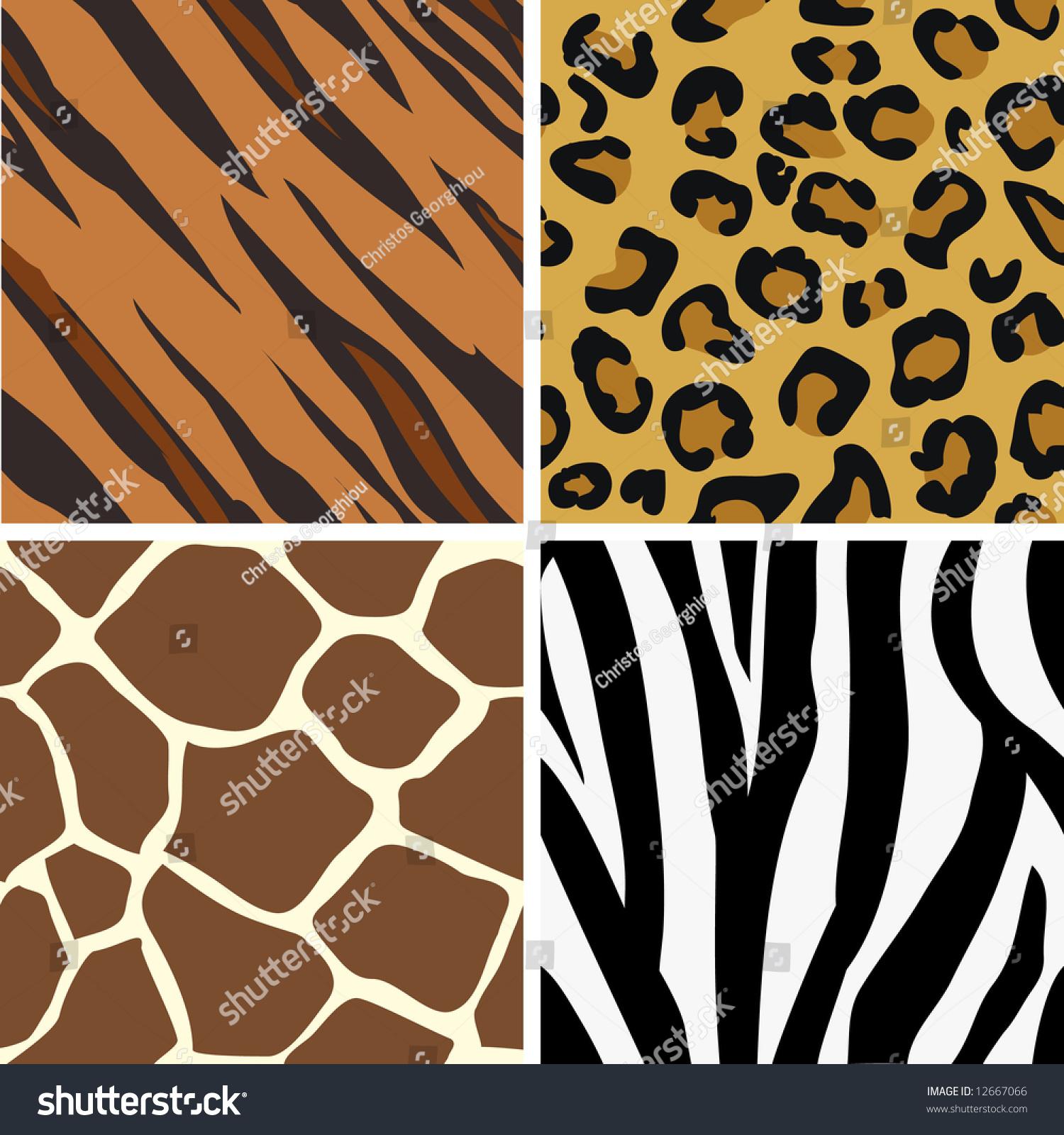 seamless tiling animal print patterns tiger stock illustration