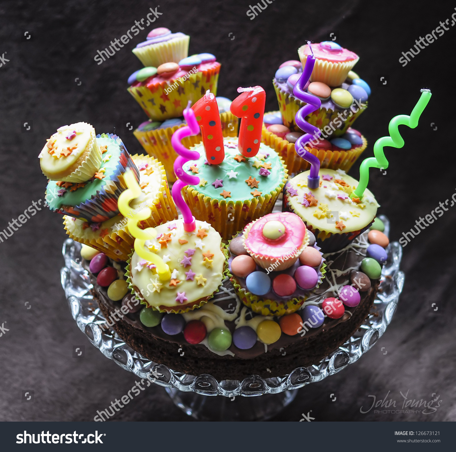 Chocolate Birthday Cake With Sweets And Candles