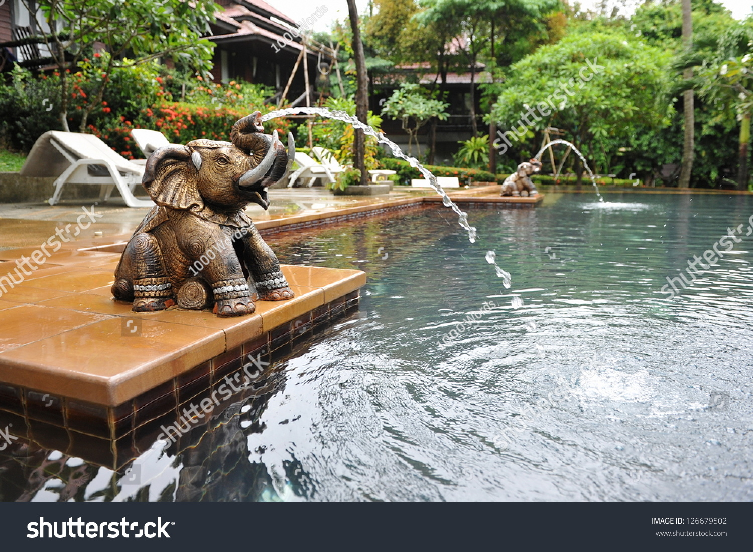 Luxury Backyard Features : Luxury Outdoor Swimming Pool and an Elephant Water Feature at a Thai