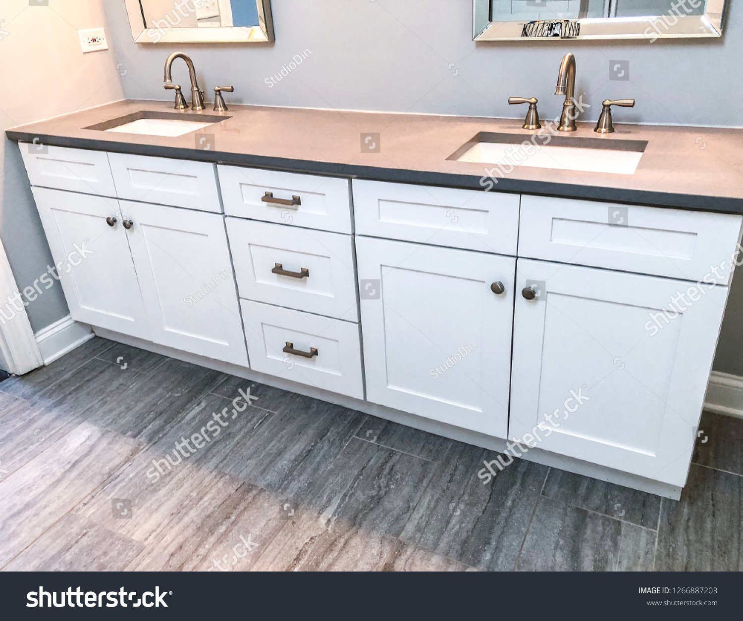 Spacious Bathroom Vanity Counter Top Gray Stock Photo Edit Now 1266887203