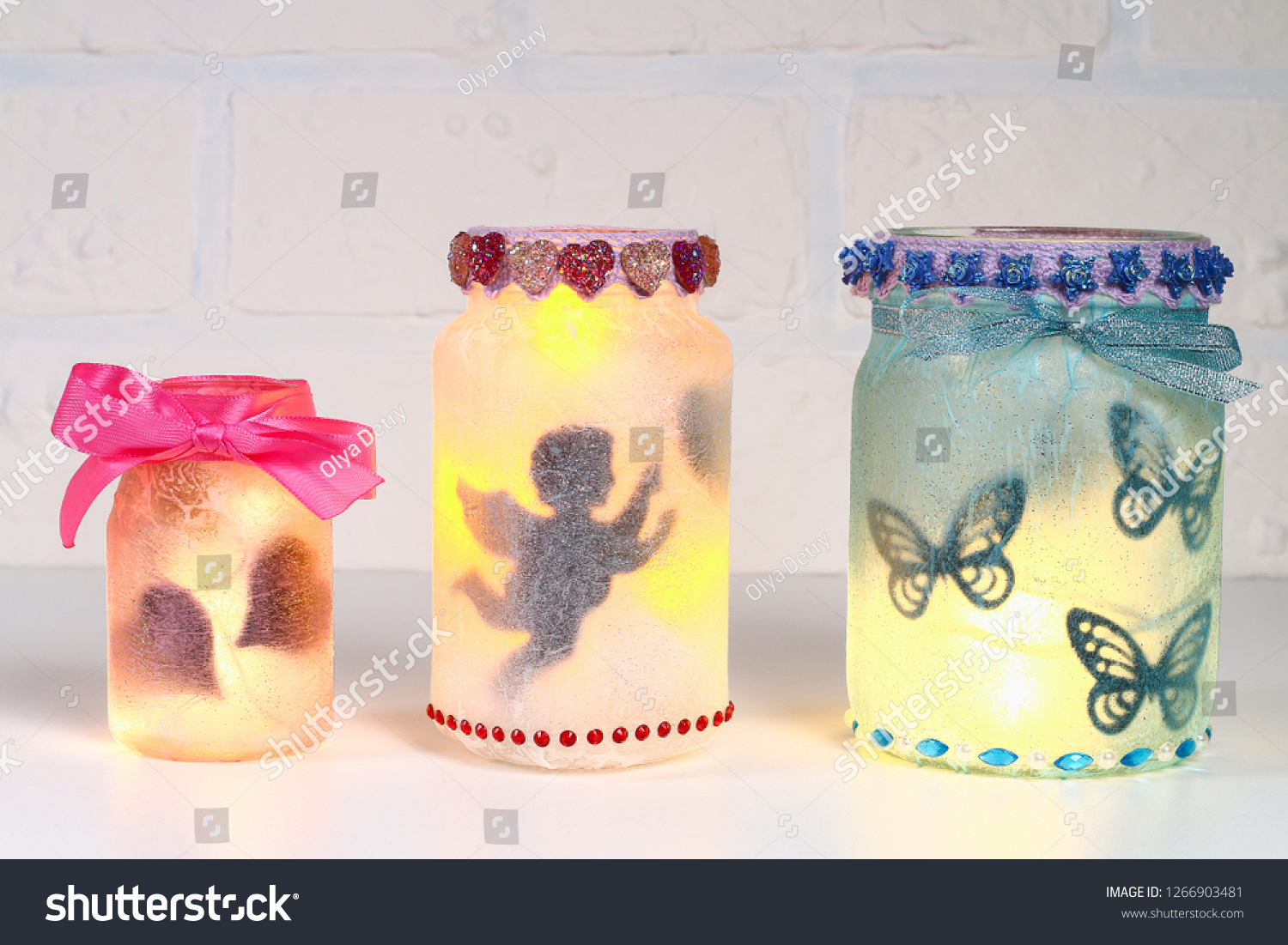Diy Fairy Jar On White Brick Stock Photo Edit Now 1266903481