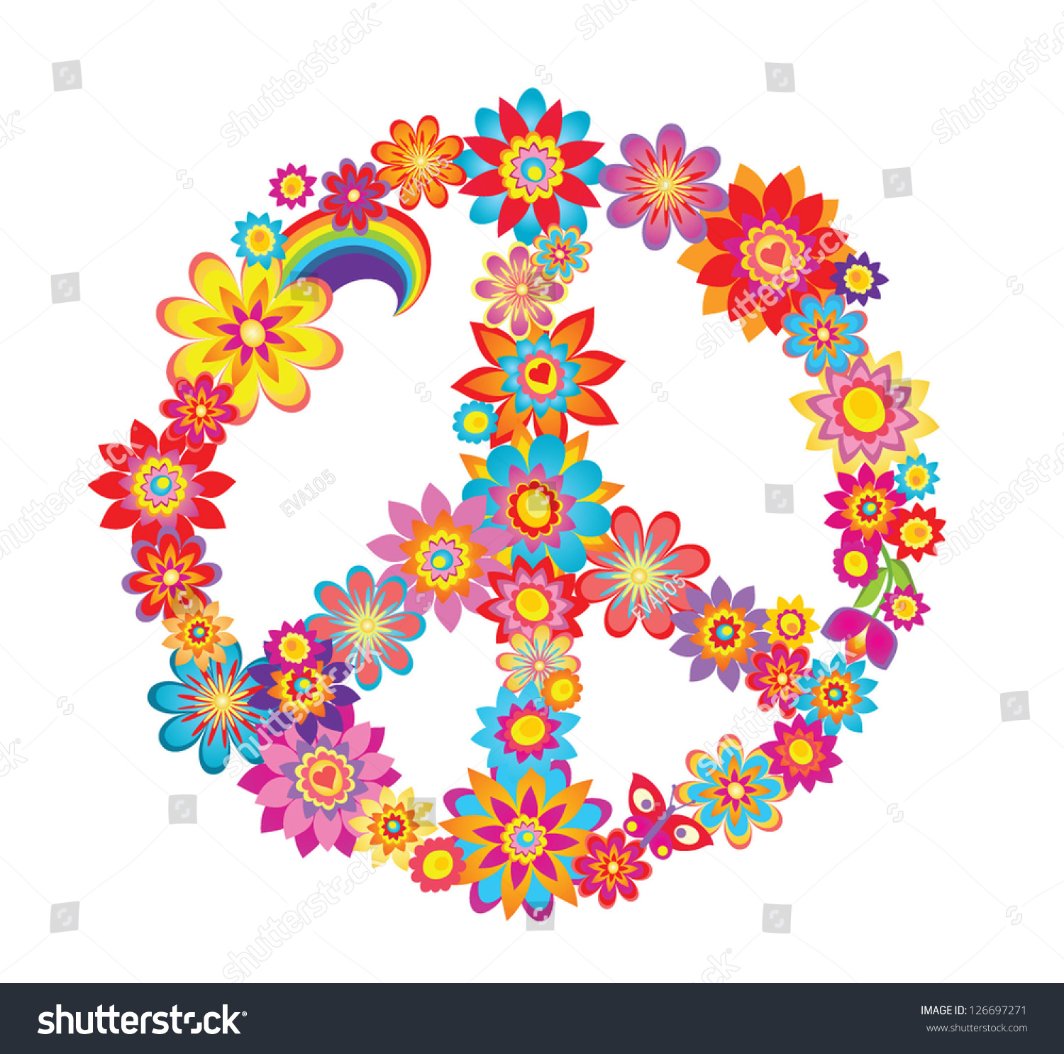 Colorful Peace Flower Symbol Stock Vector Shutterstock