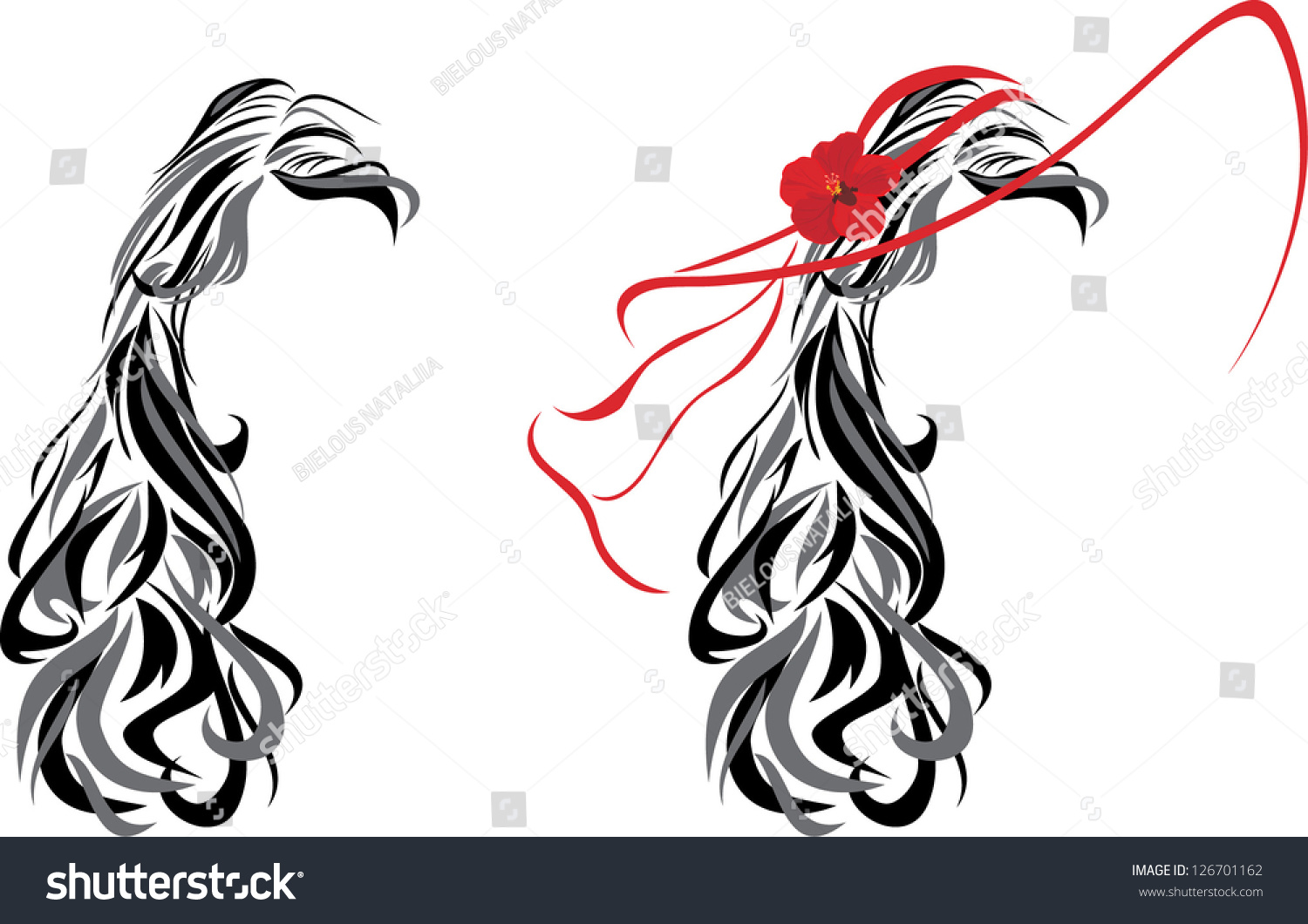 Hairstyle Vector: Elegant Female Hairstyle. Vector