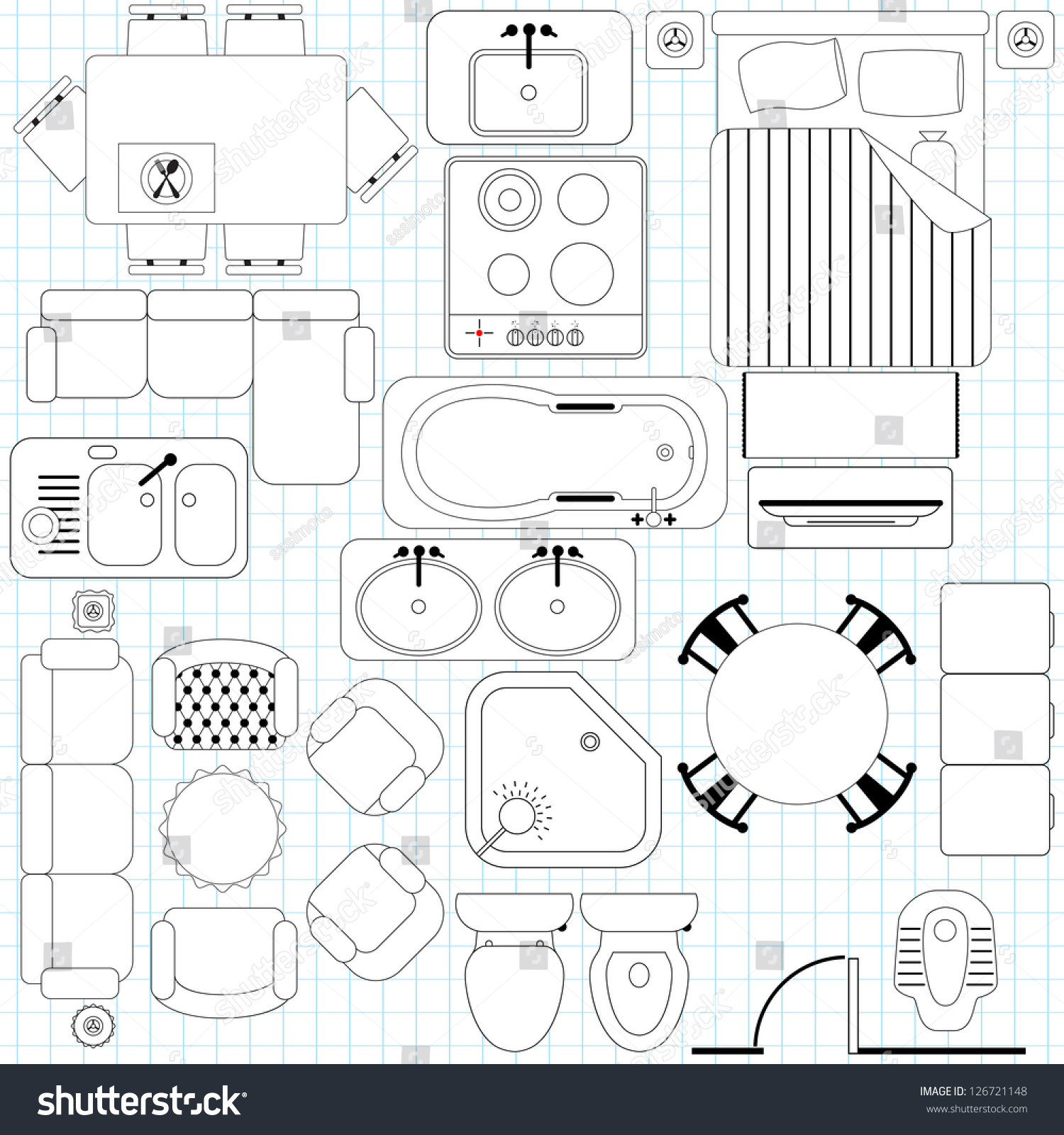 Toilet seat icon vector for Floor plan symbols