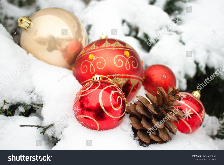 Cream Red Christmas New Year Balls Stock Photo Edit Now 1267294951