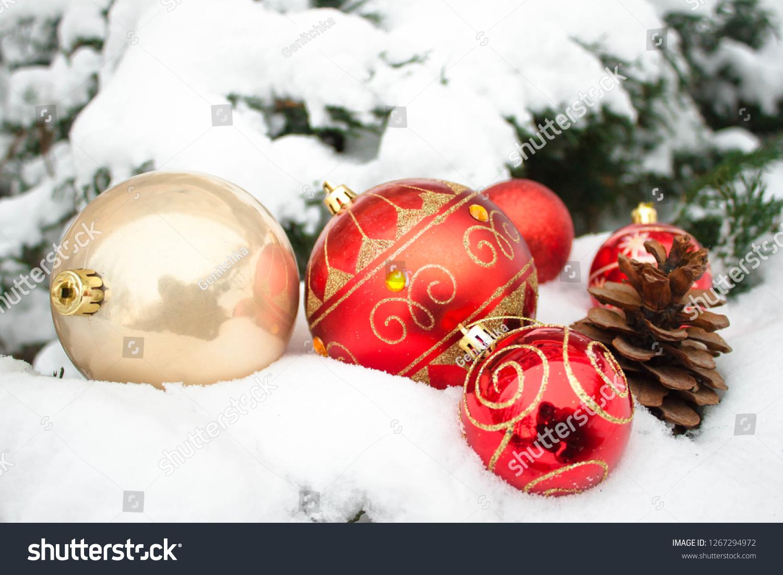 Cream Red Christmas New Year Balls Stock Photo Edit Now 1267294972